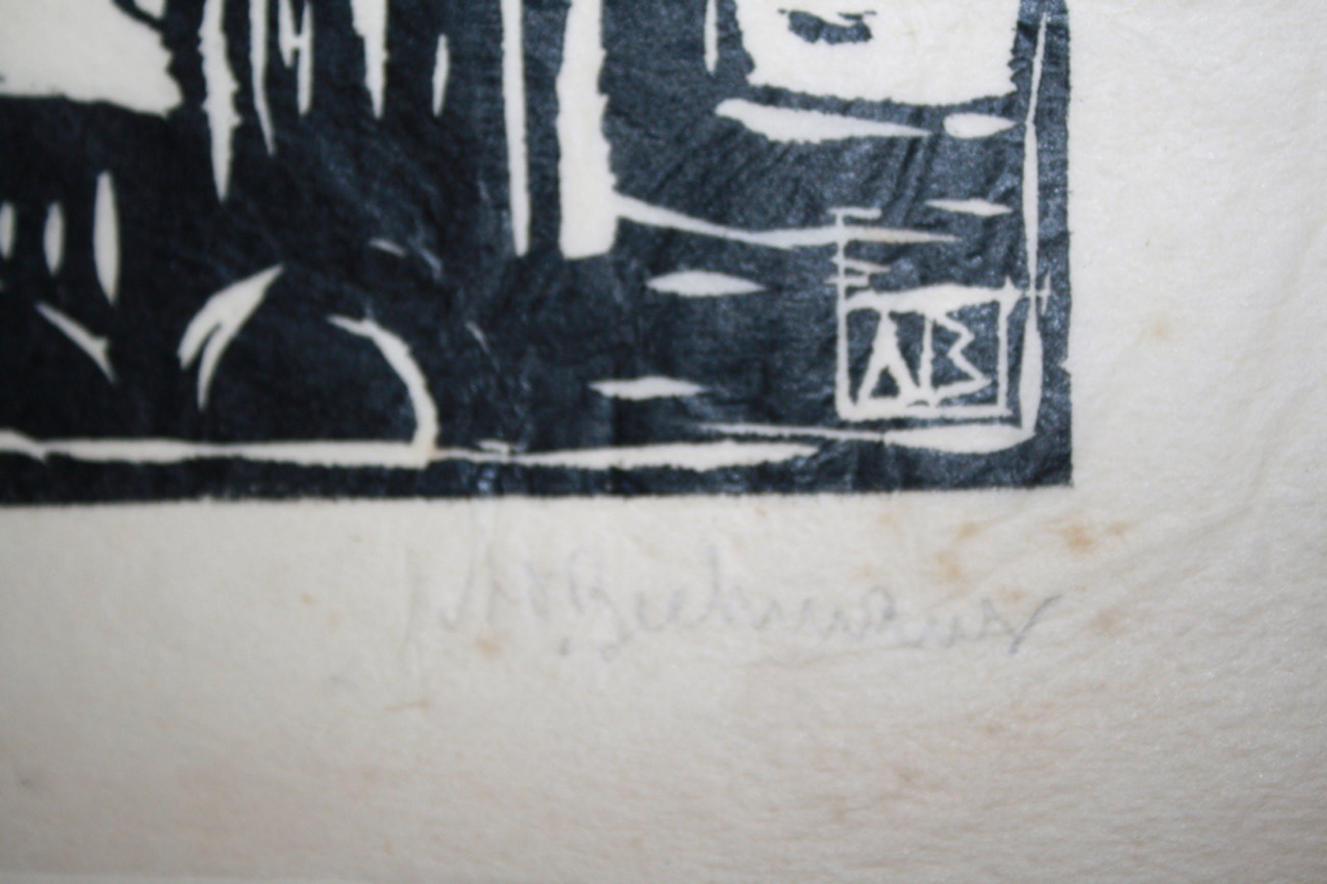 APPELKADE HARDERWIJK 1929  - HOUTSNEDE door AD BEEKMANS kopen? Bied vanaf 1!
