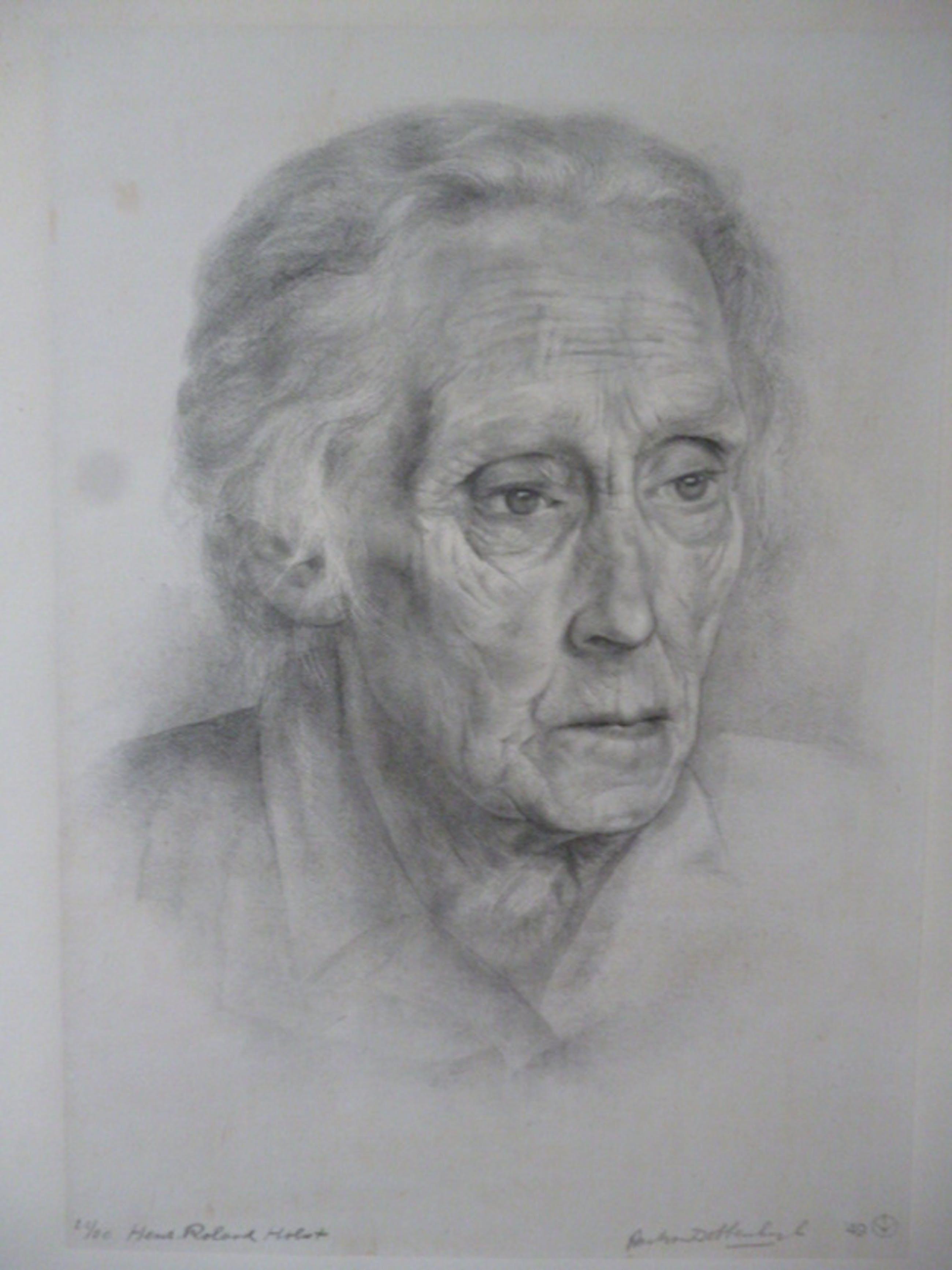 Aart Van Dobbenburgh Litho Portret Van Henriëtte Roland