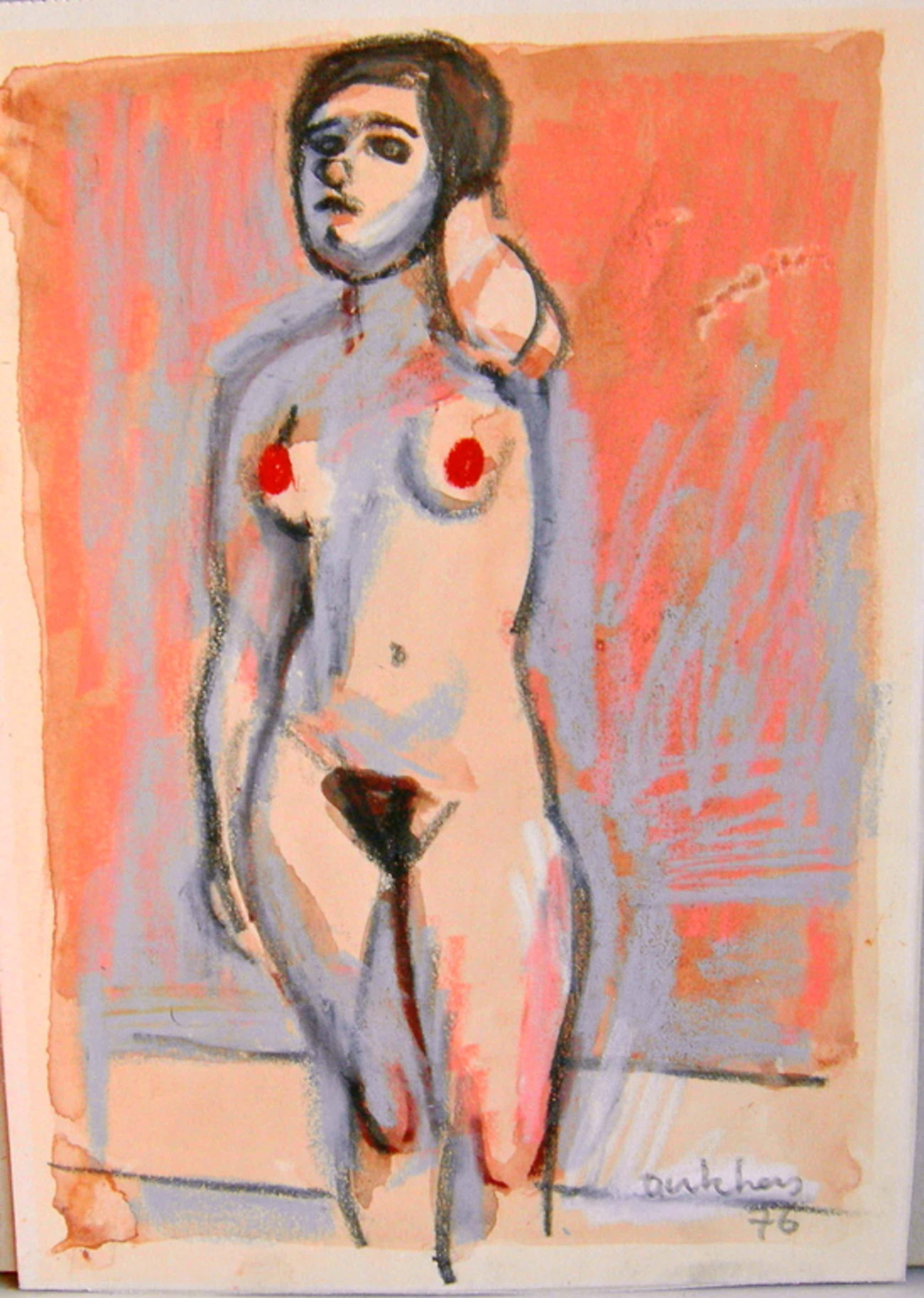 Ed Dukkers, aquarel/gouache, naakt kopen? Bied vanaf 35!