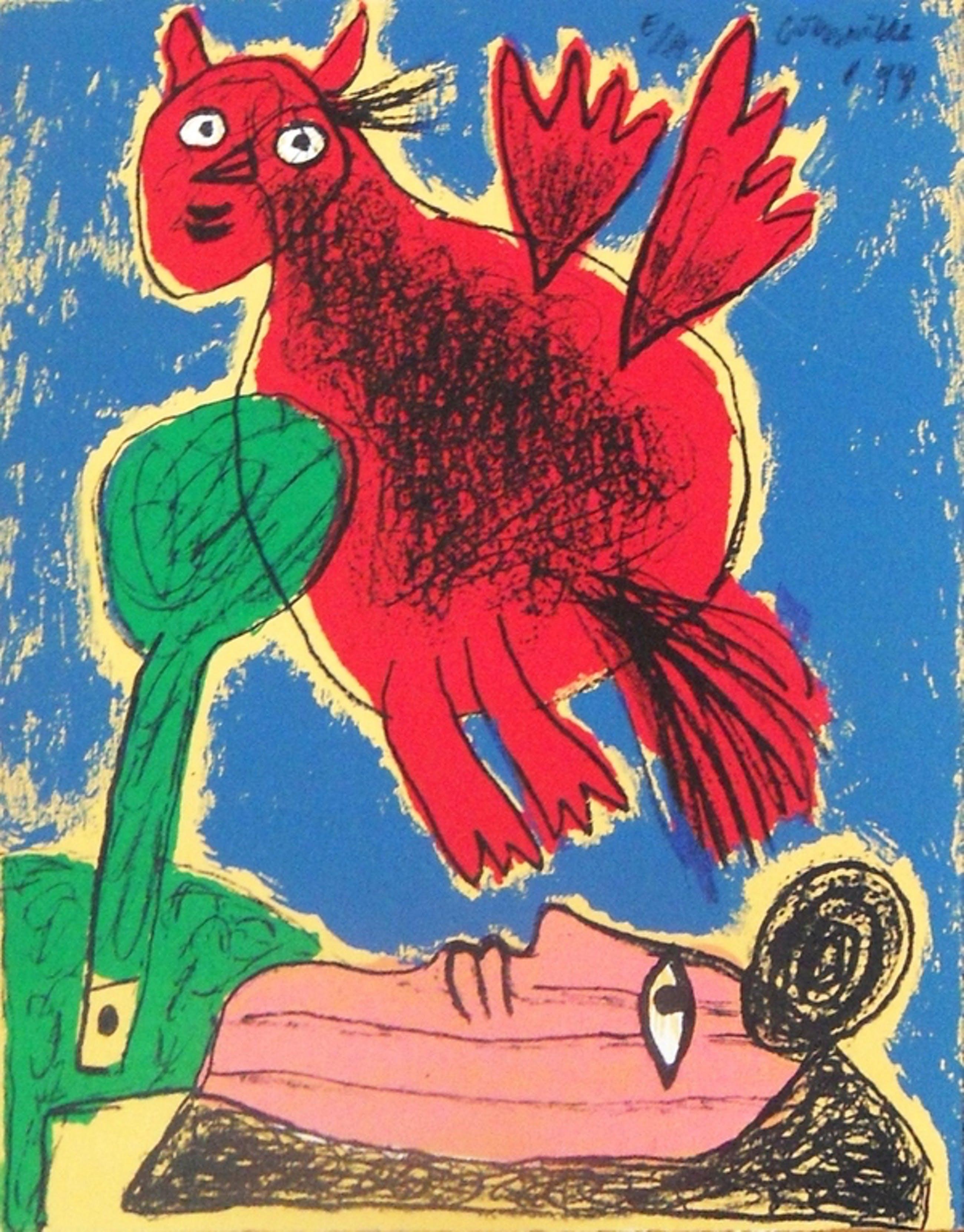 Corneille vrouw,boom en vogel lithografie uit 1994 kopen? Bied vanaf 87!