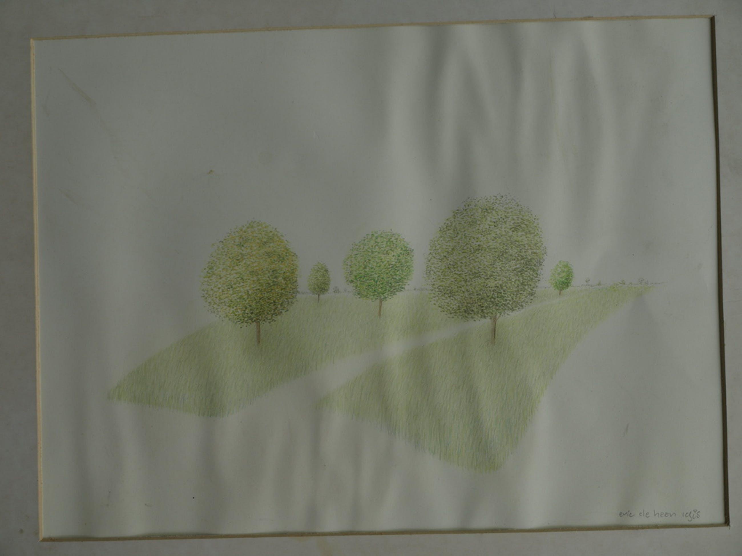 Eric de Haan (1947) – Kleurpotloodtekening  – Landschap – Gesigneerd - 1985 kopen? Bied vanaf 1!