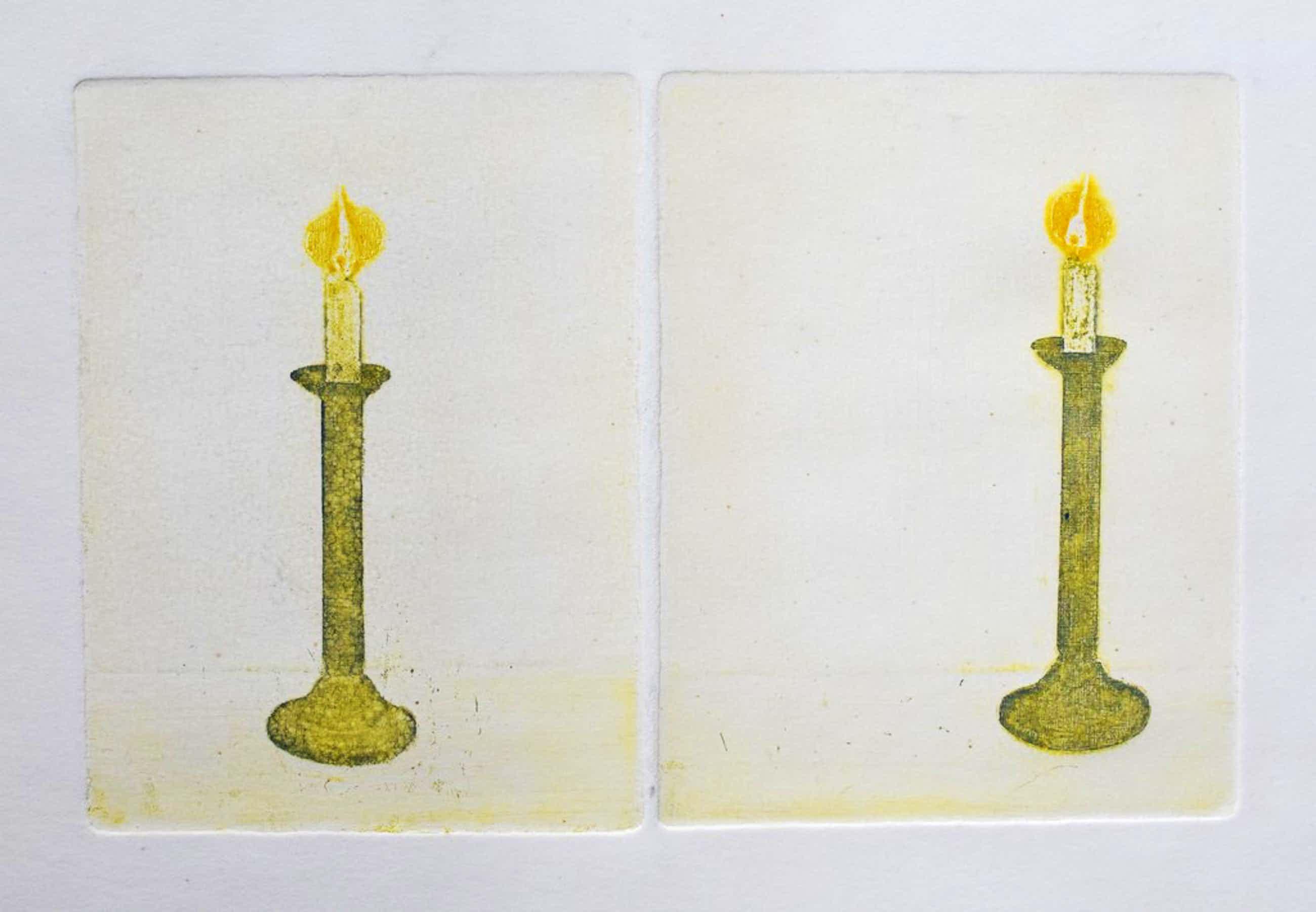 Eduard Flor # TWEE KAARSEN # ca. 1970, oplage 60/gesigneerd, mint-- kopen? Bied vanaf 39!