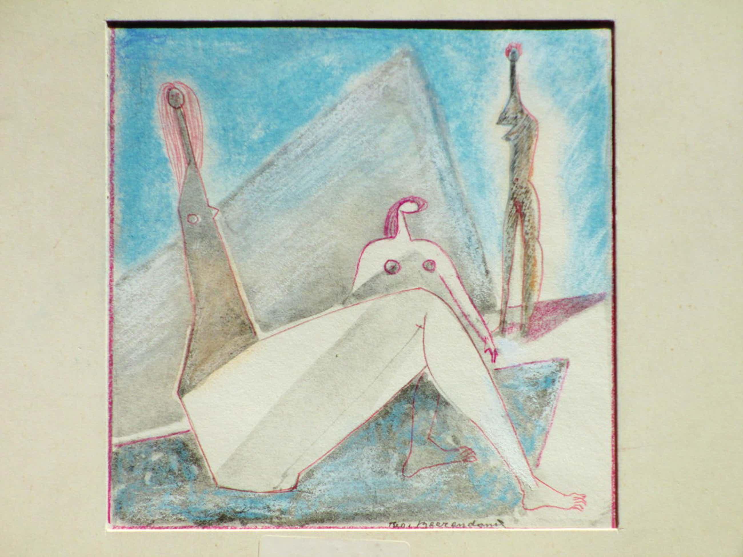 Theo Beerendonk, Kubistische naakten, Kleurpotlood kopen? Bied vanaf 45!