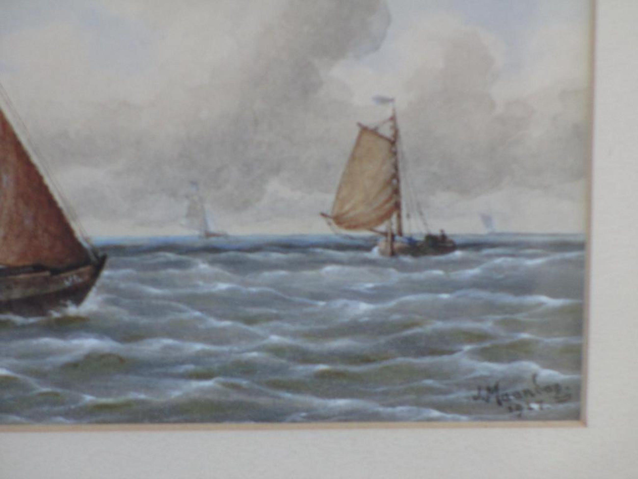 Jan Maandag, Vissersschepen op zee, Aquarel 1927 kopen? Bied vanaf 100!
