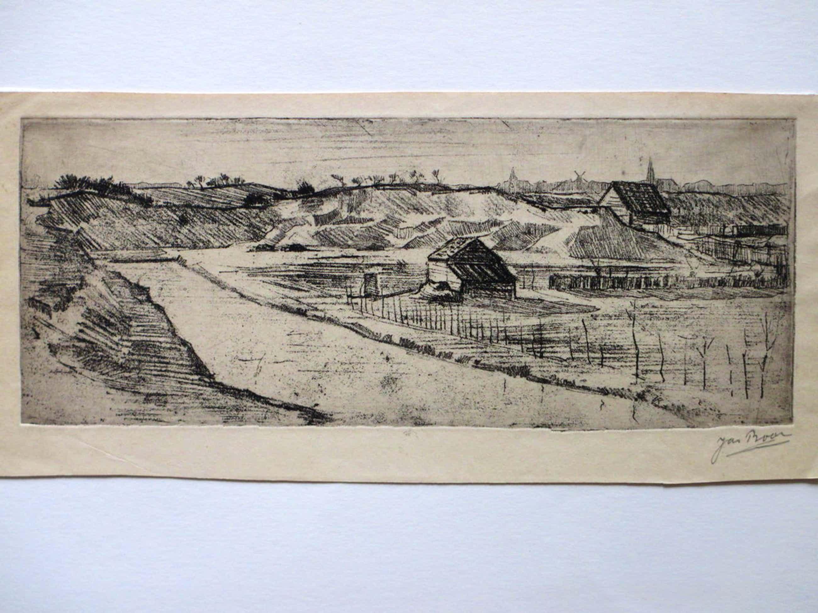 Jan Boon, Landschap achter de duinen, Ets kopen? Bied vanaf 40!