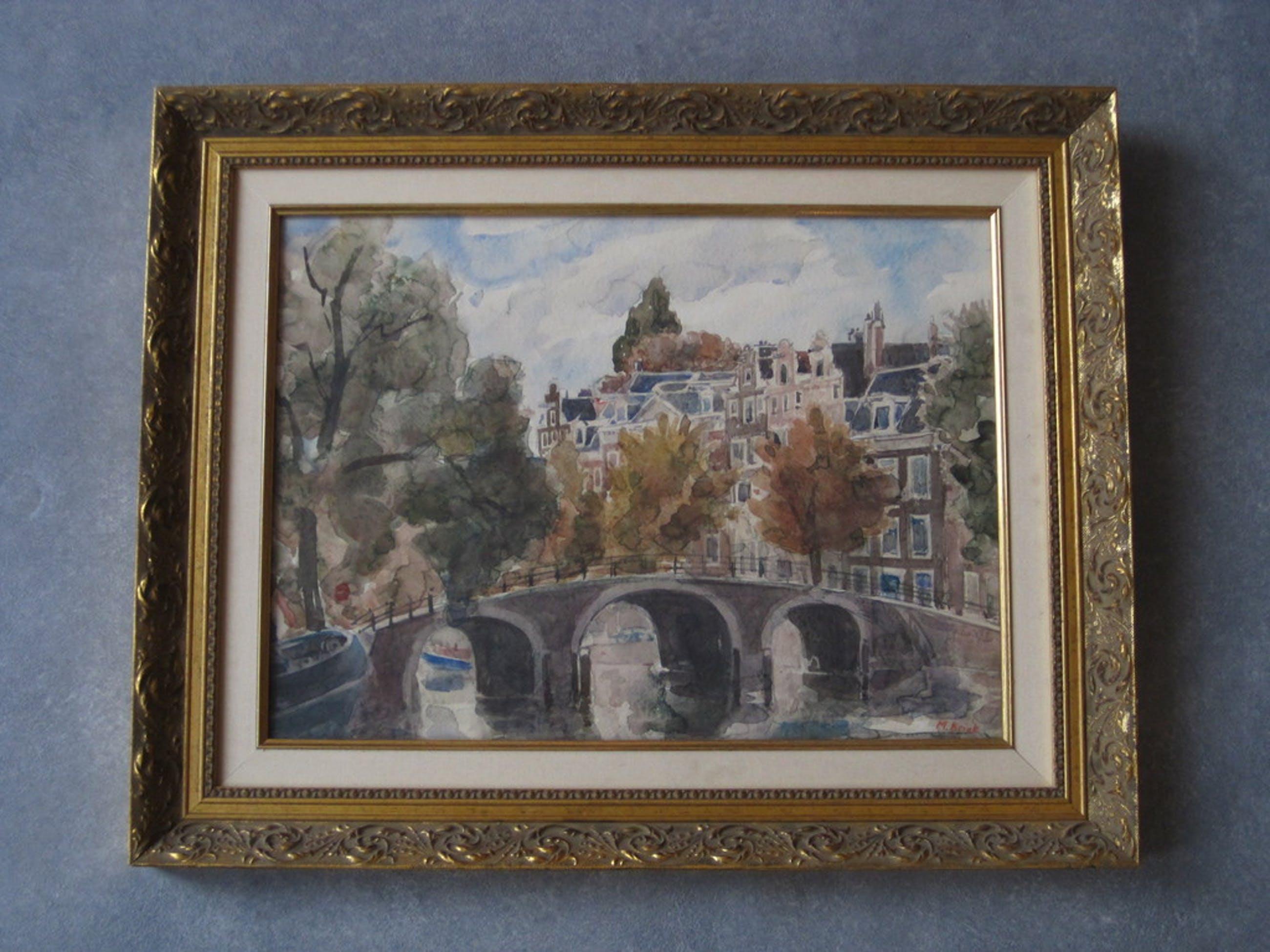 Mario Kriek 1906-1977 aquarel, Amsterdam Herengracht kopen? Bied vanaf 10!
