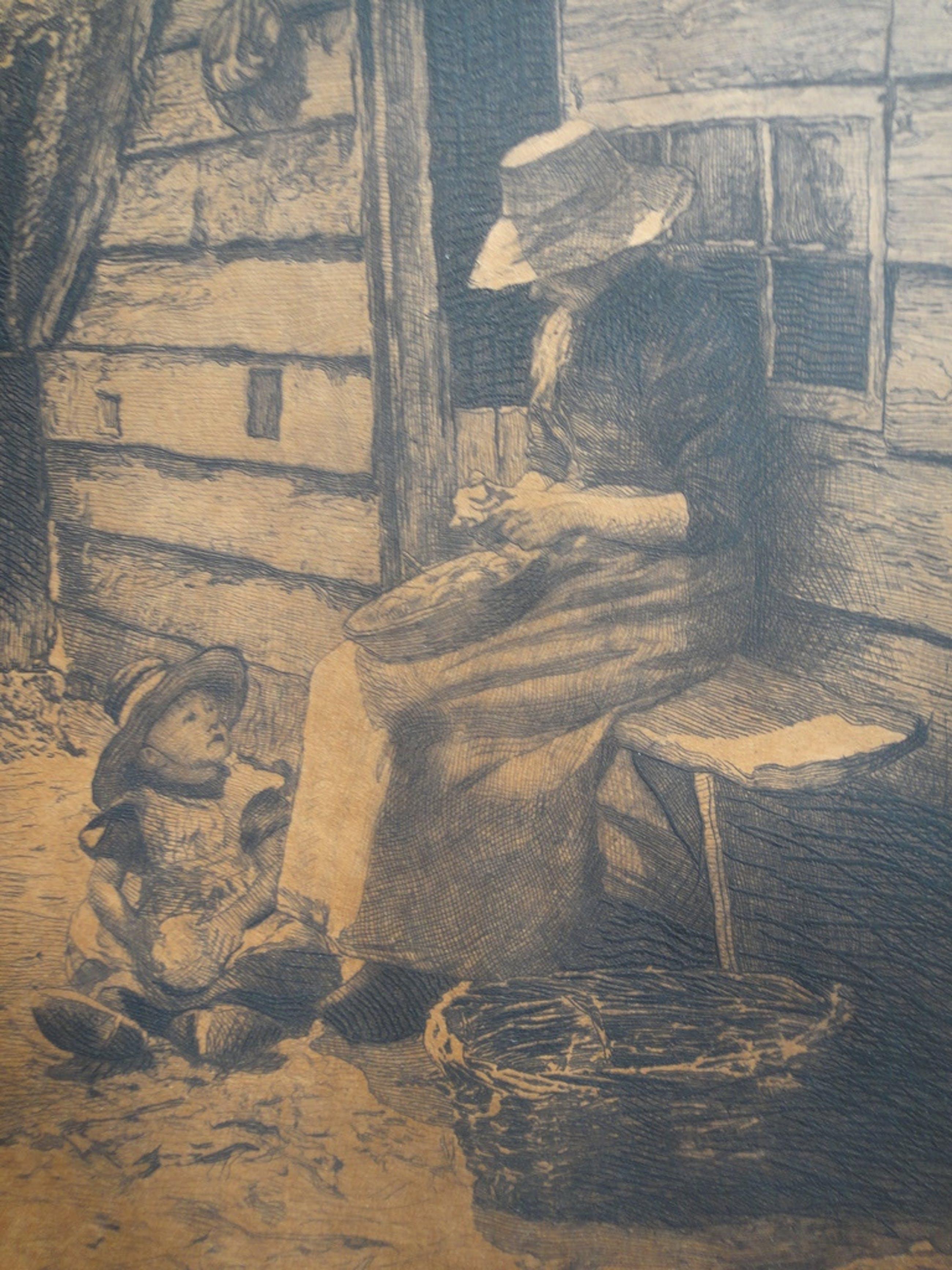 Henri Koetser, ets, aardappels? schillende moeder met kind kopen? Bied vanaf 1!