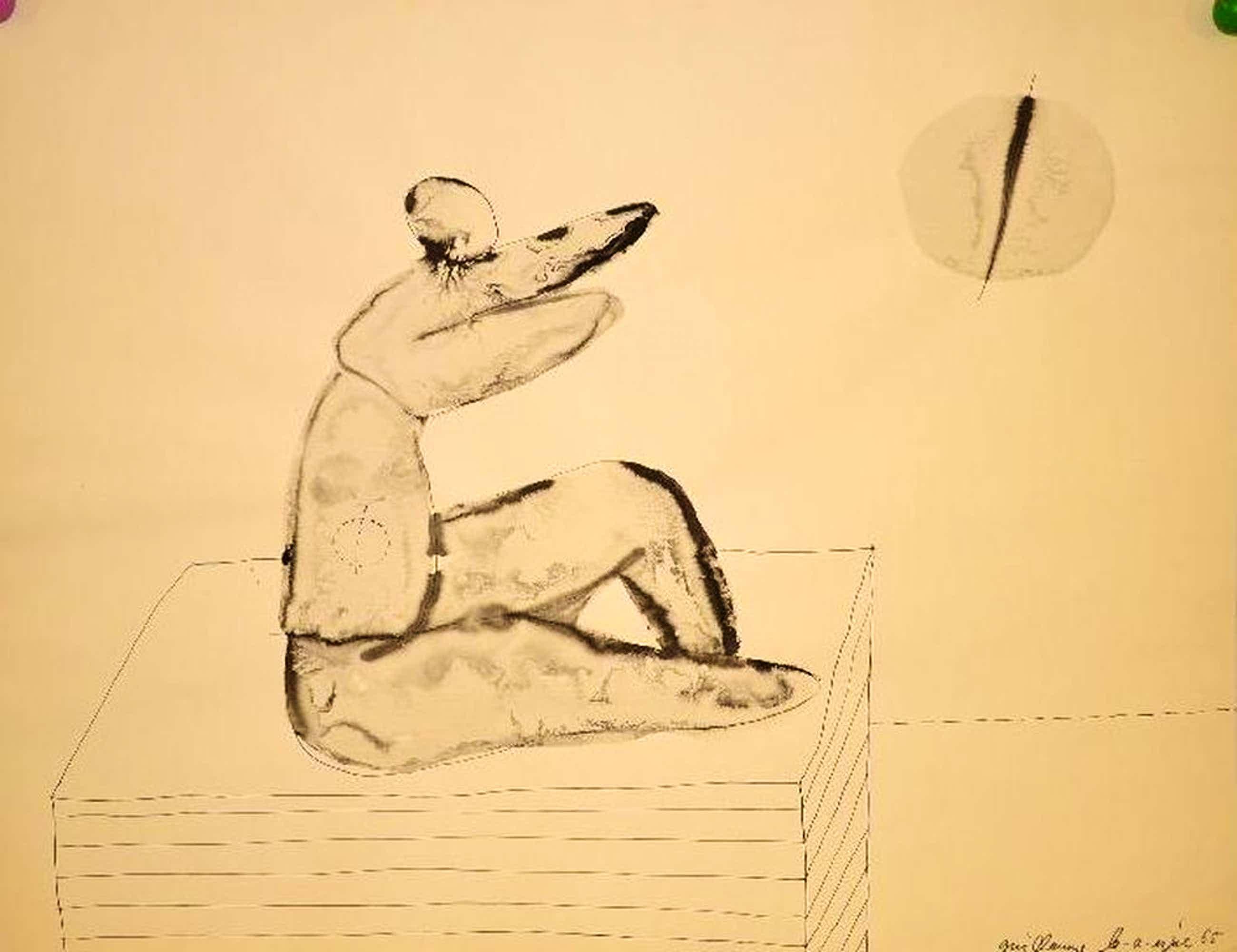 Guillaume Lo-A-Njoe: originele tekening 'Dierlijk figuur' kopen? Bied vanaf 70!