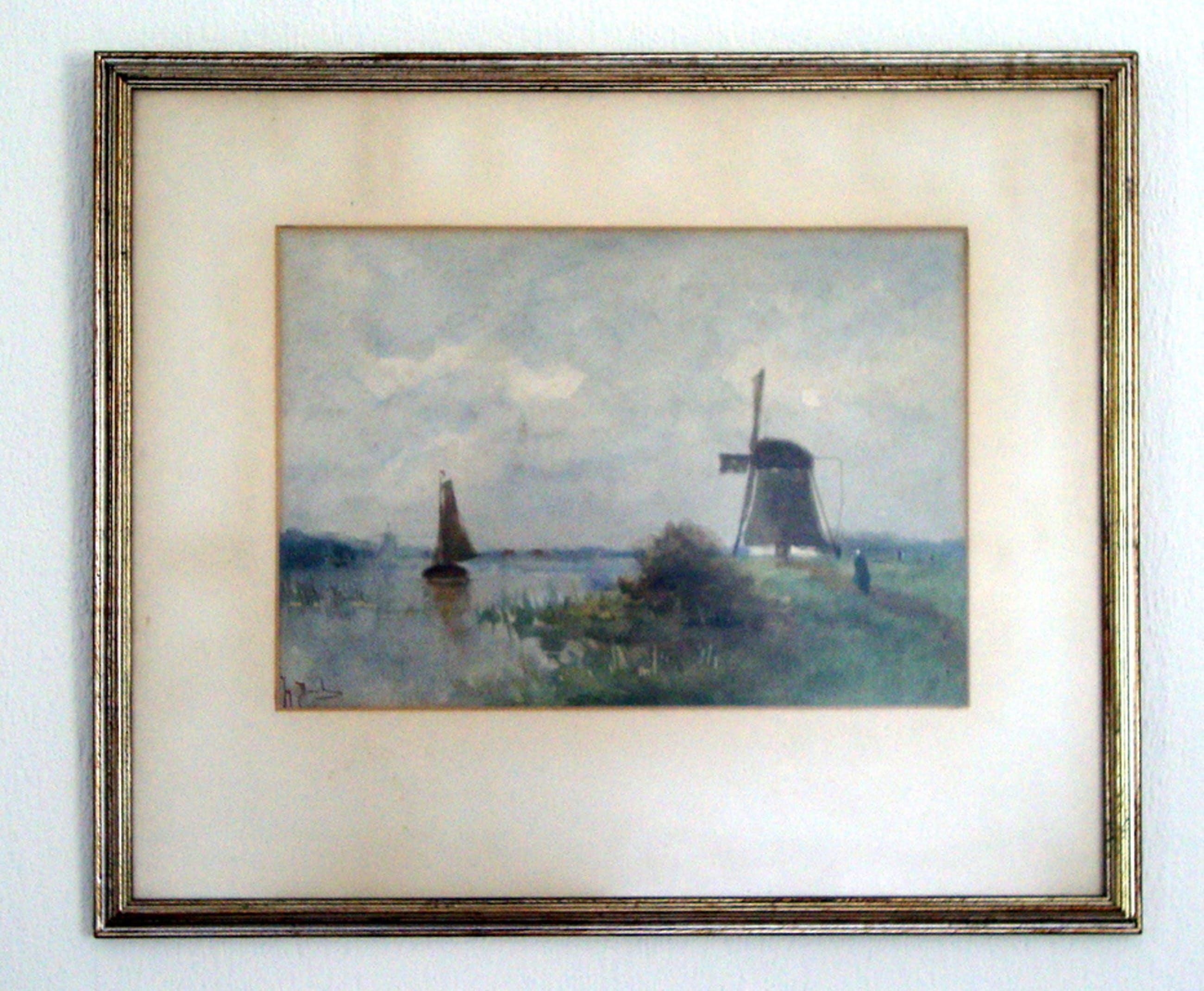 Johan Hendrik Doeleman, aquarel, landschap met molen. kopen? Bied vanaf 1500!