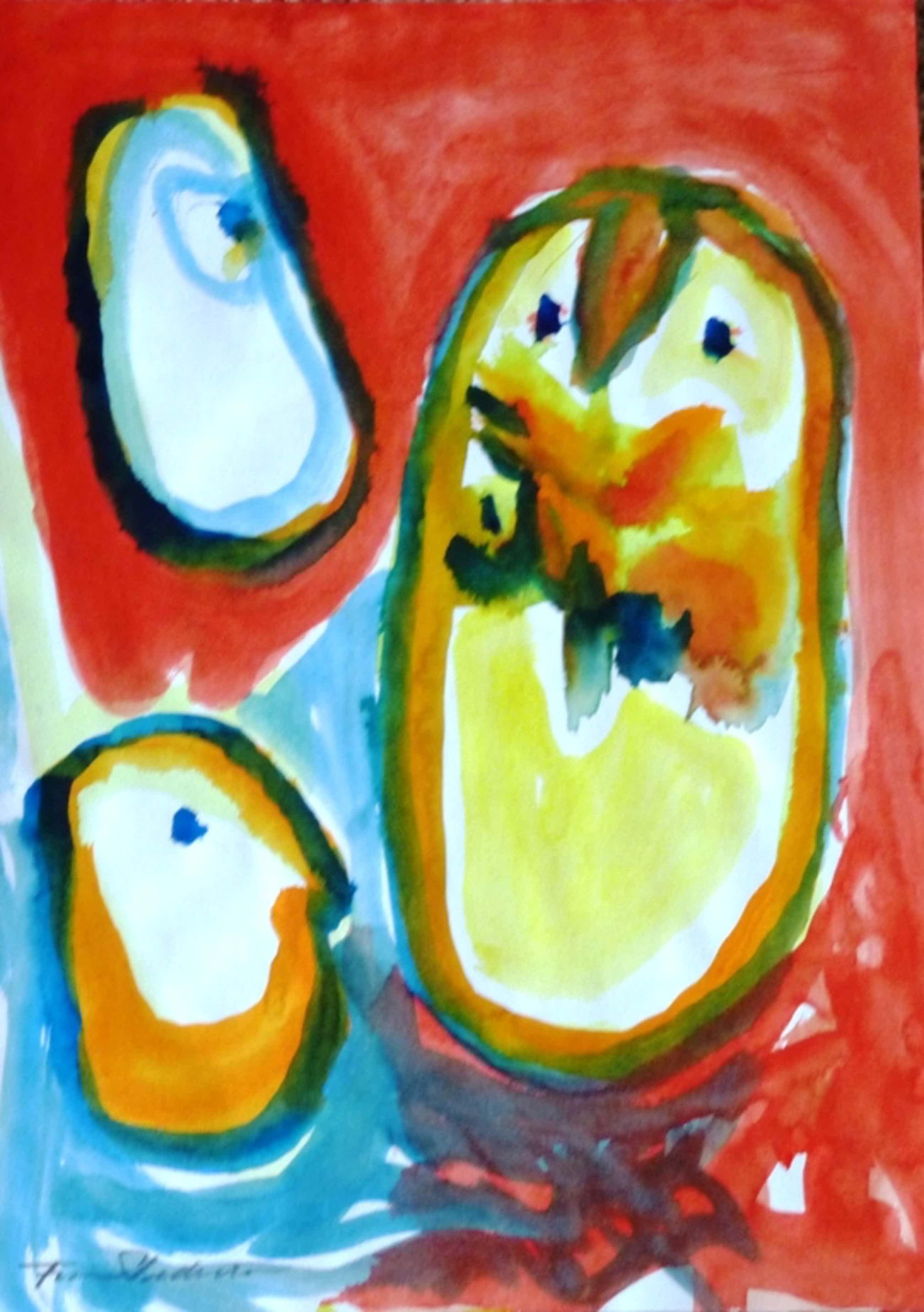Finn Pedersen, aquarel, handgesigneerd kopen? Bied vanaf 250!