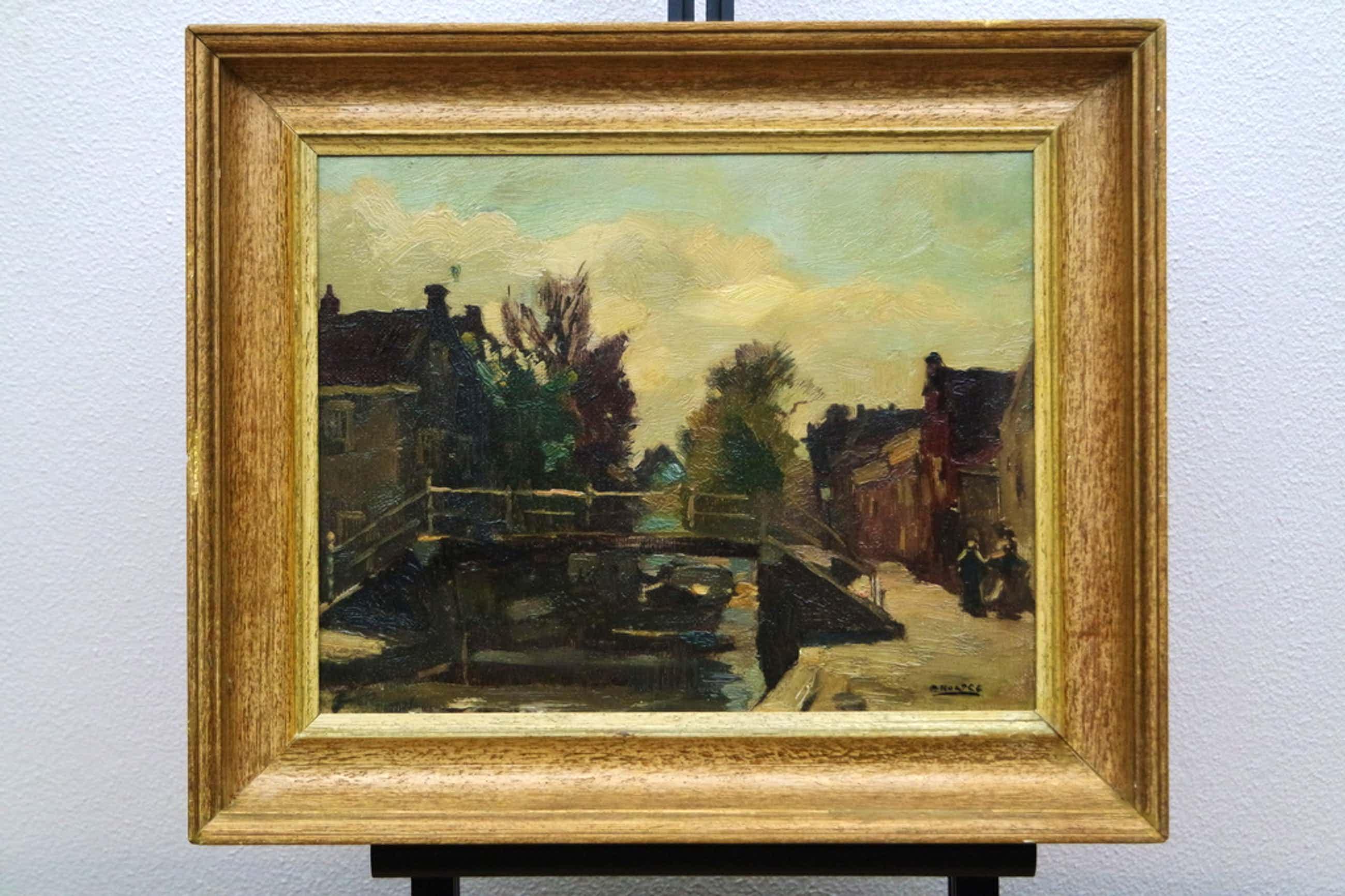 Cor Noltee (1903-1967) - olieverf op doek - dorpsgezicht met bruggetje kopen? Bied vanaf 380!