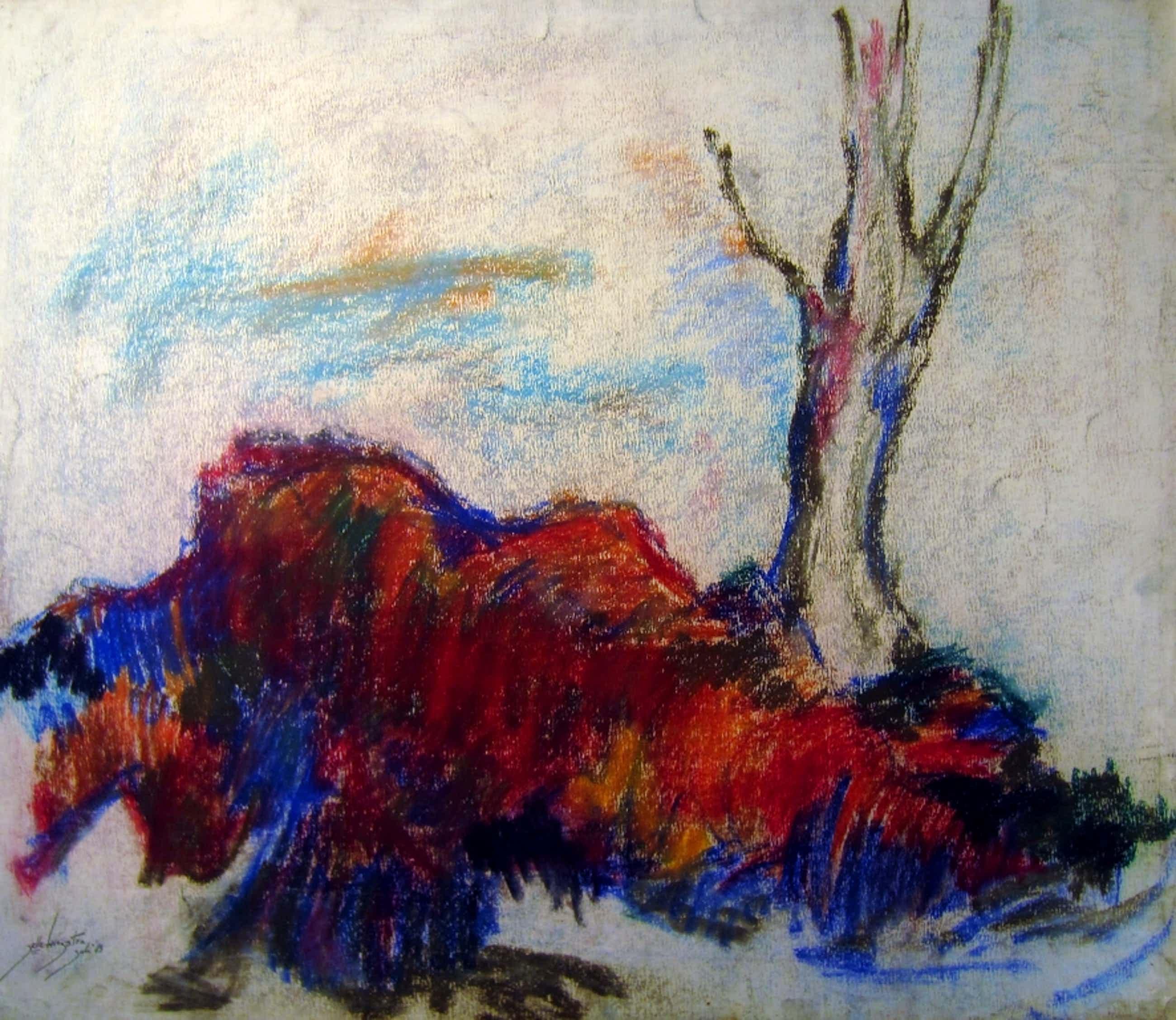 Jelle Hoogstra (1929-2003) - grote pastel 1983 kopen? Bied vanaf 40!