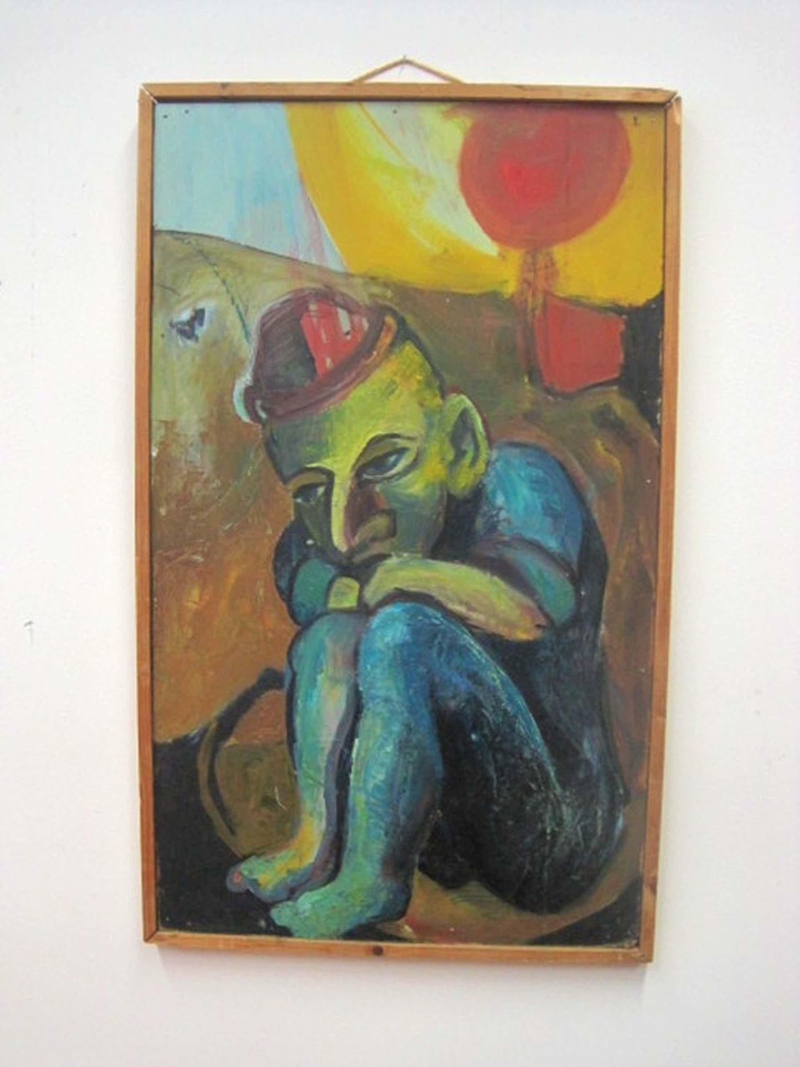 """gesign Jan van Heel """"de mistroostige Clown"""" olieverf 1943  kopen? Bied vanaf 95!"""