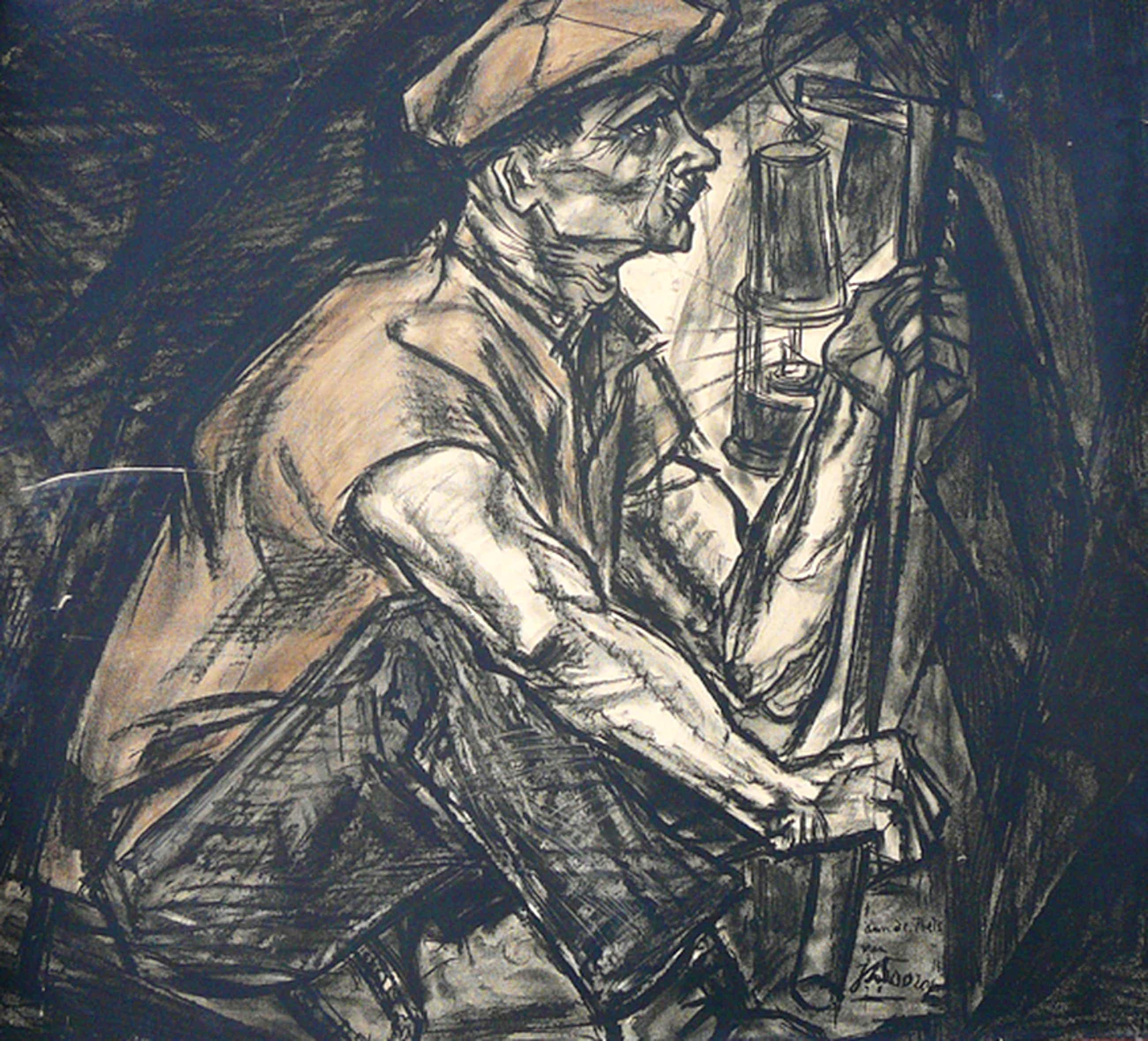 Jan Toorop: 'De Mijnwerker' -litho 1915, 85 x 95 cm kopen? Bied vanaf 75!