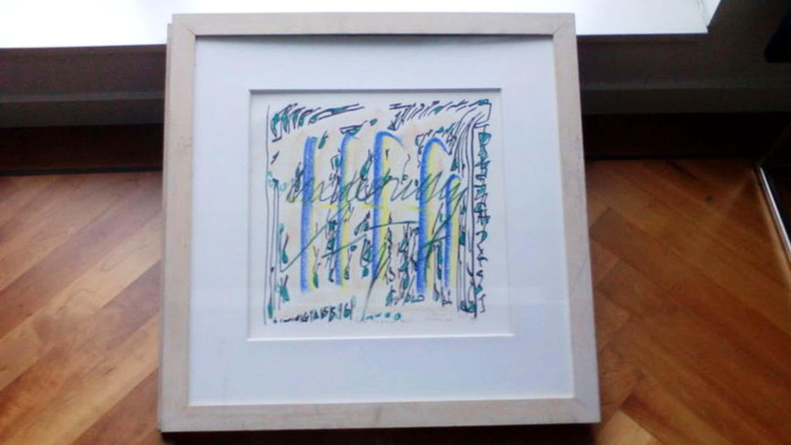 Simon Vinkenoog, pastelkrijt tekening,1993,61x61cm  kopen? Bied vanaf 140!