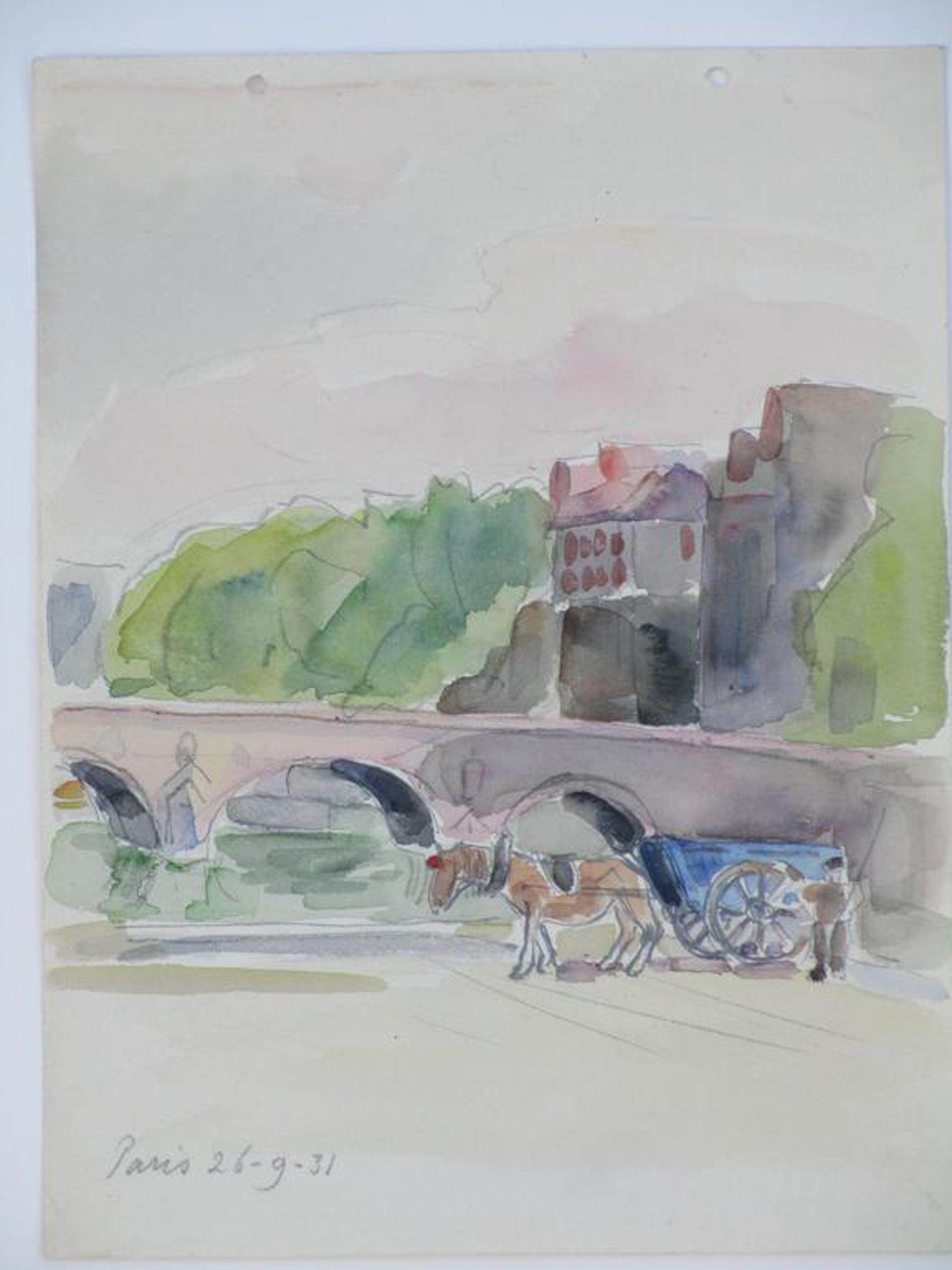 Han Krug, Paardenkar bij Parijse brug, Aquarel kopen? Bied vanaf 45!