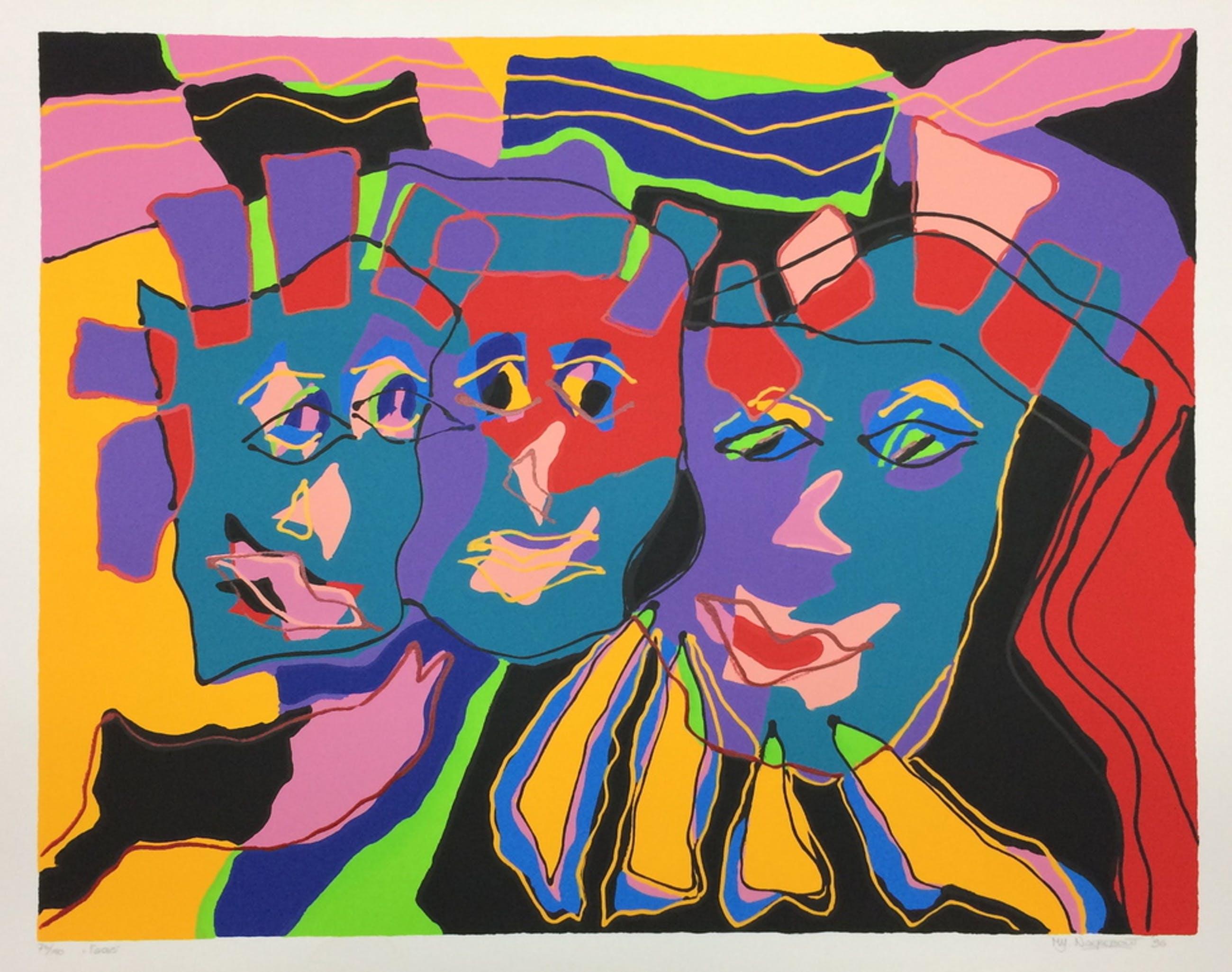 """Marianne Naerebout, zeefdruk met lijst , titel """" Faces """" kopen? Bied vanaf 50!"""