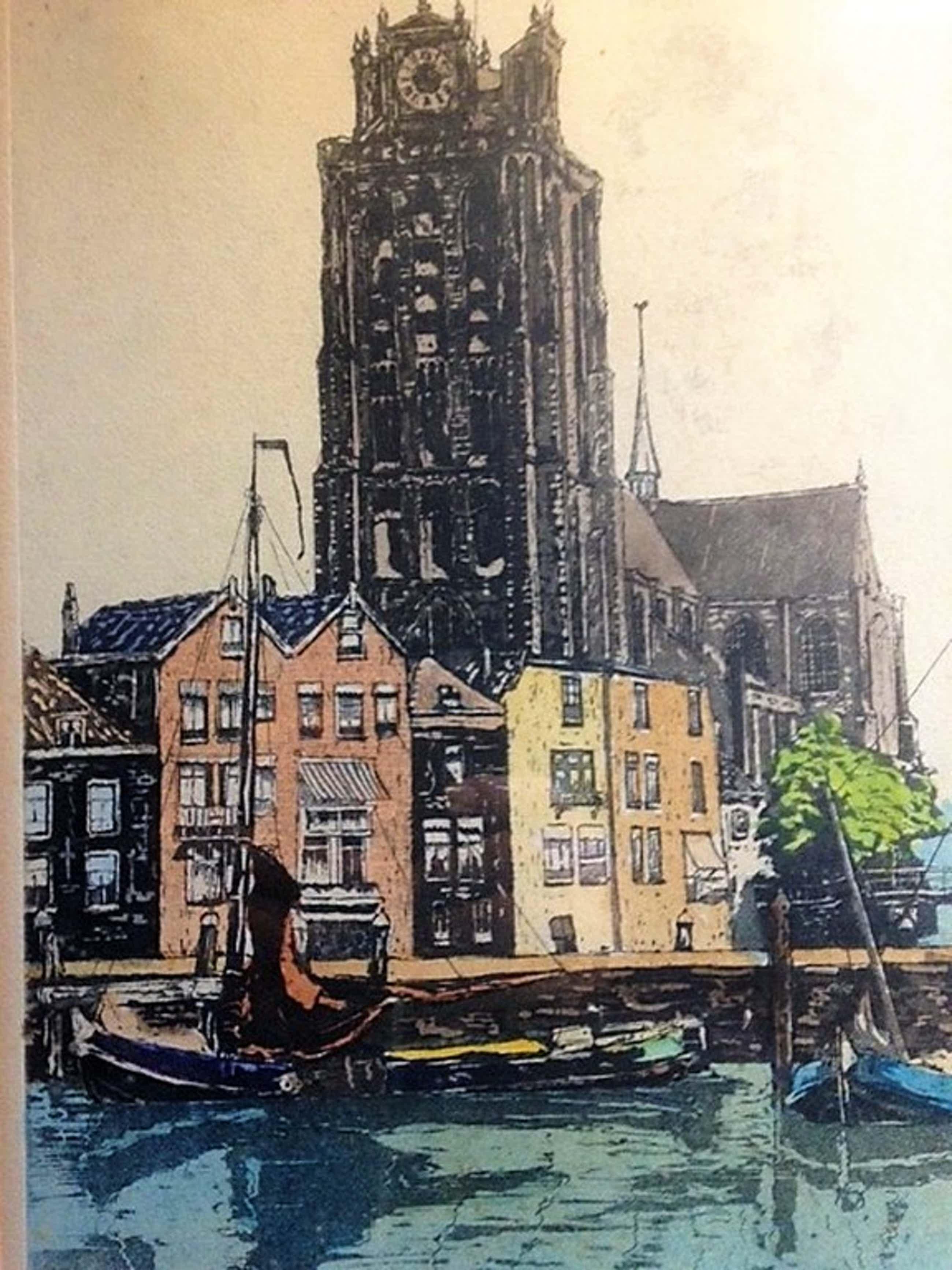 Marinus de Jongere (1912-1977), ingekleurde ets, Grote kerk Dordrecht kopen? Bied vanaf 55!