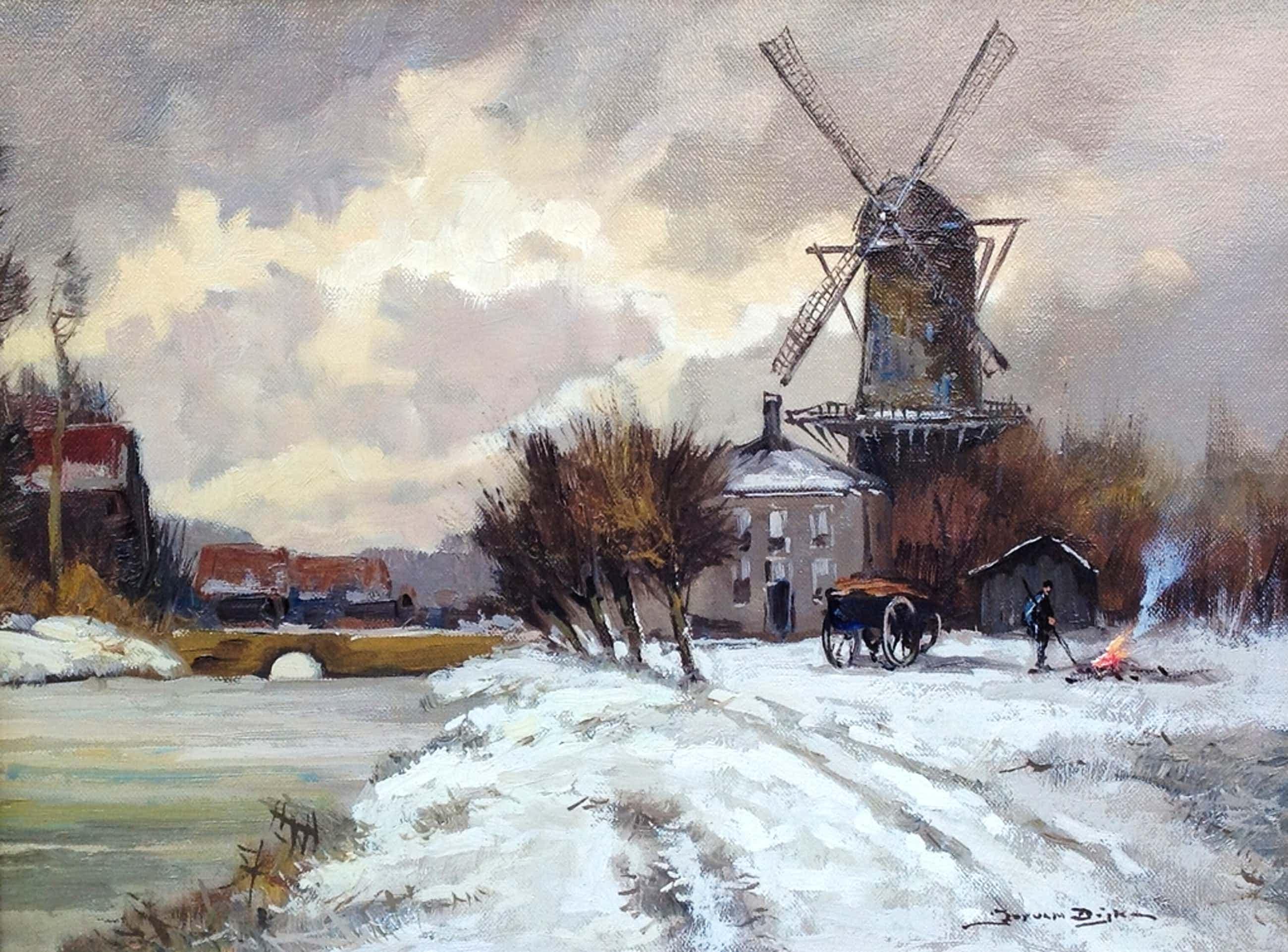 Jos van Dijk, winterlandschap kopen? Bied vanaf 150!