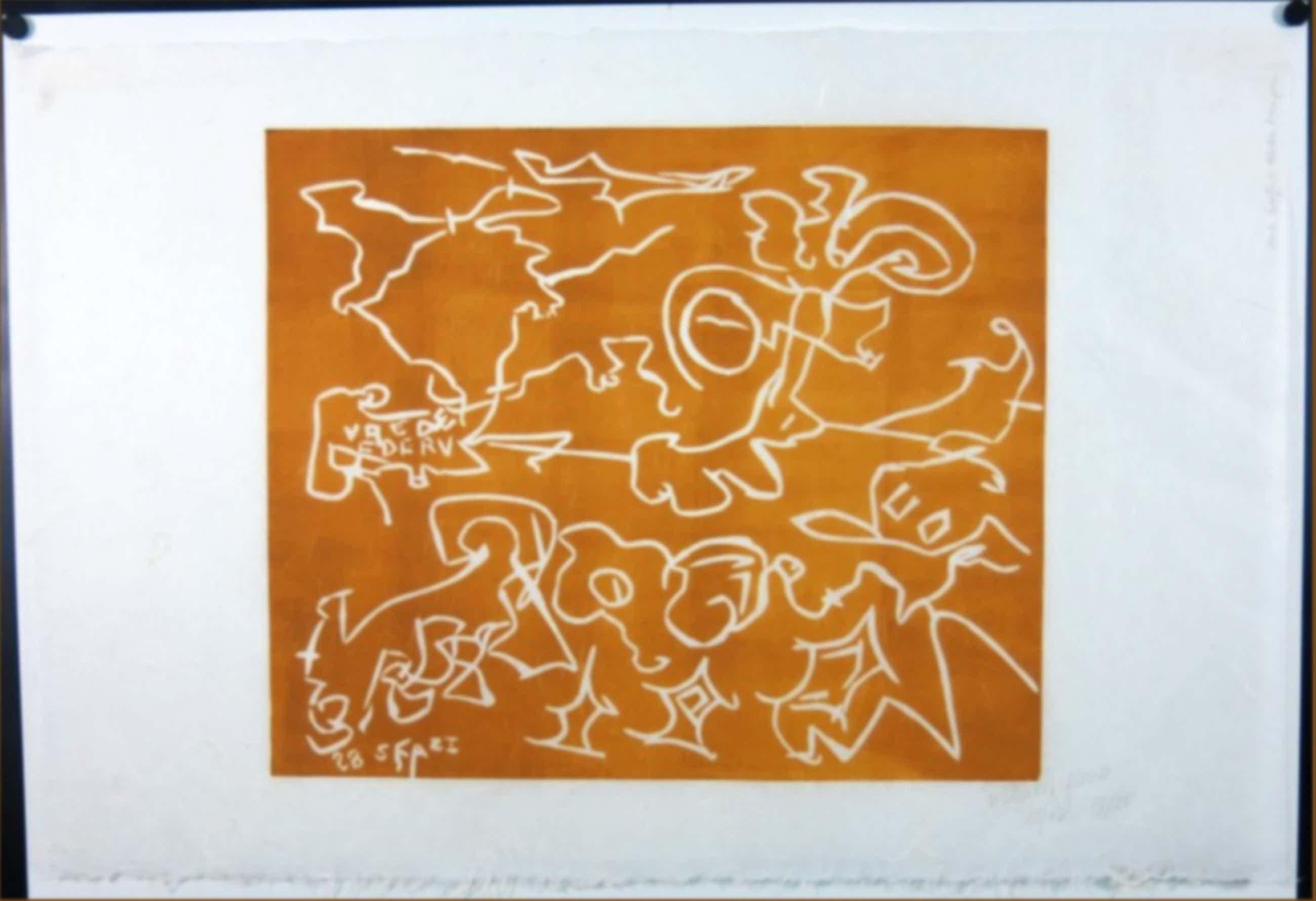 Wim Izaks: Lino op rijstpapier, Vrede oranje (groot) kopen? Bied vanaf 41!