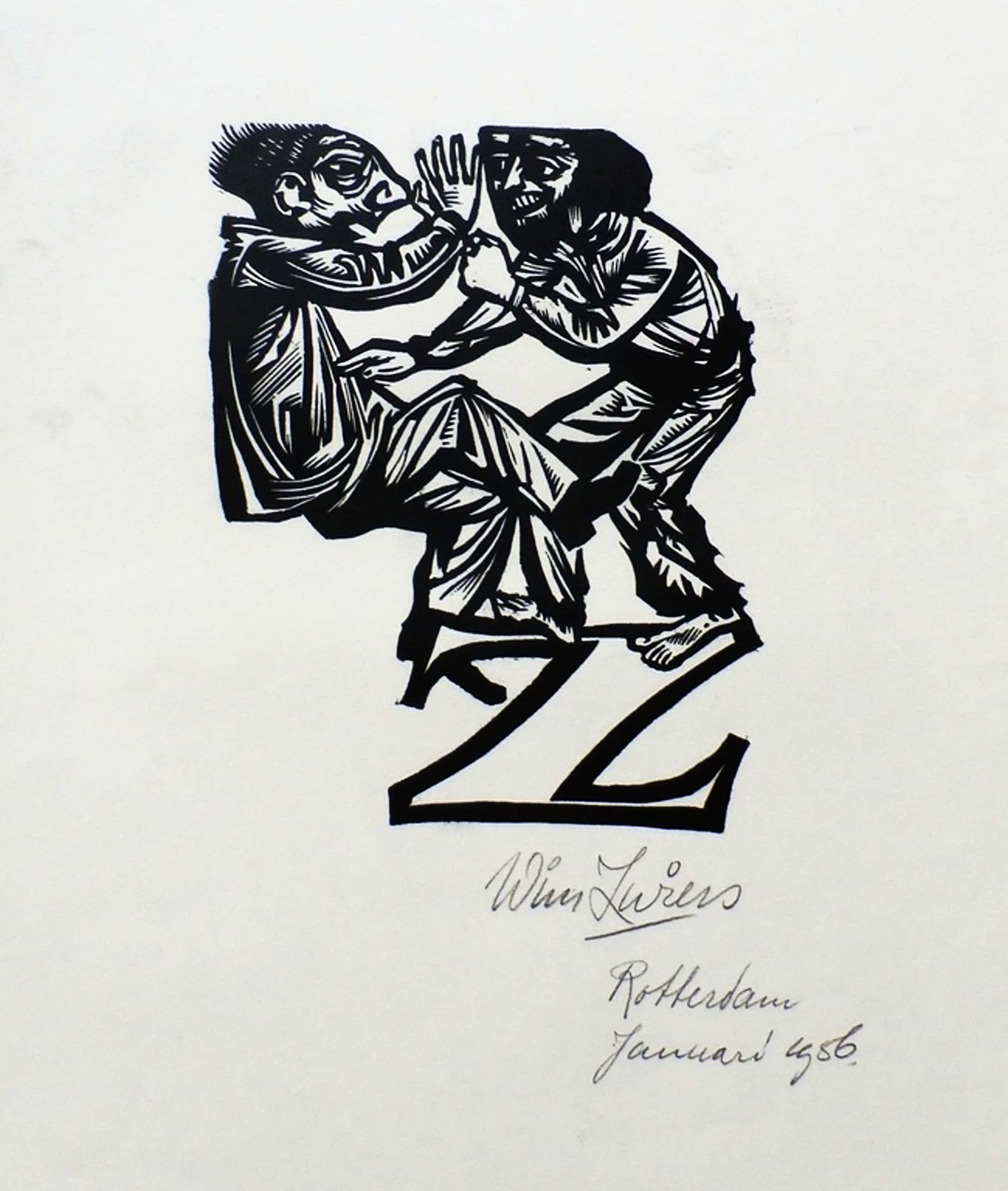 Wim Zwiers - lino - 1956 kopen? Bied vanaf 35!
