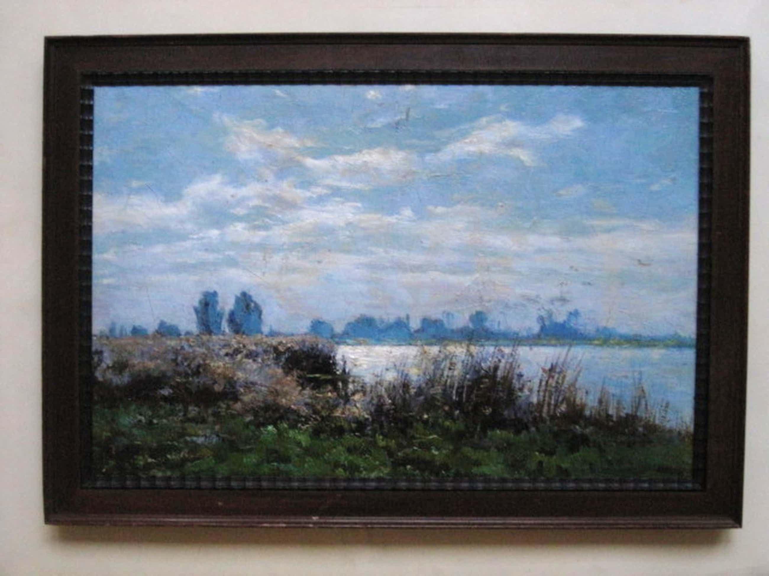 """Haarlem impressionist Ad. Miolee 1879-1961 olieverf """"aan deVecht bij Nigtevecht"""" kopen? Bied vanaf 100!"""