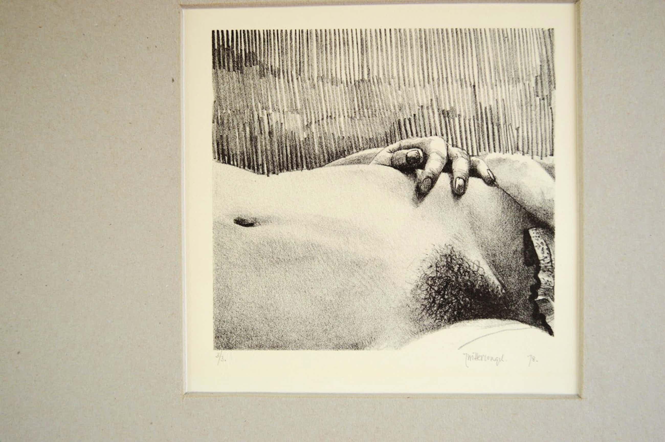 Roger Wittevrongel (1933-   ets 'onderbuikgevoelens' 1978 - 14 x 14 ( 45x45)  kopen? Bied vanaf 69!