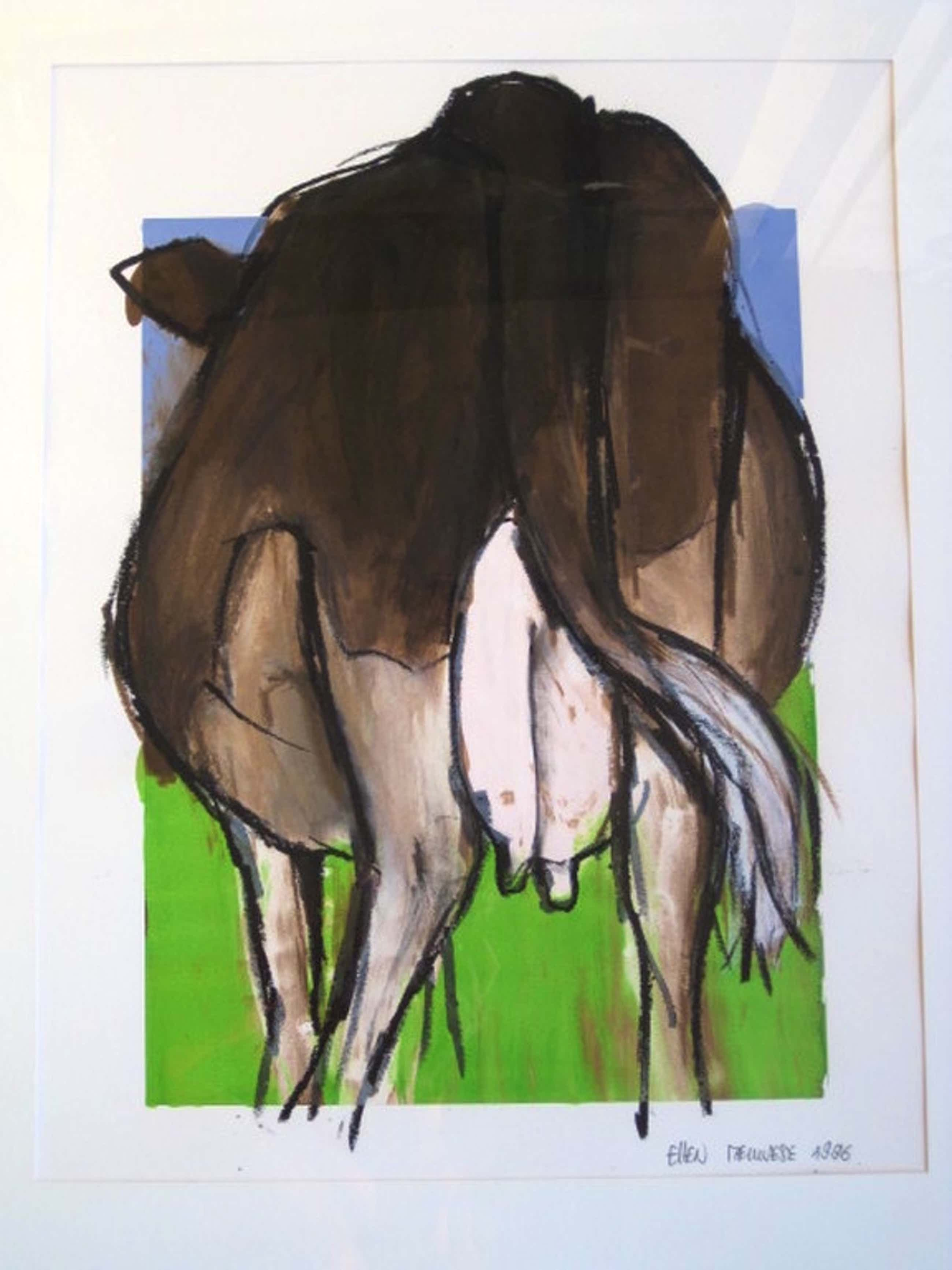 "Grote gemengde techniek voorstelling ""KOE"" van Ellen Meuwese (1948-) gesigneerd  kopen? Bied vanaf 135!"