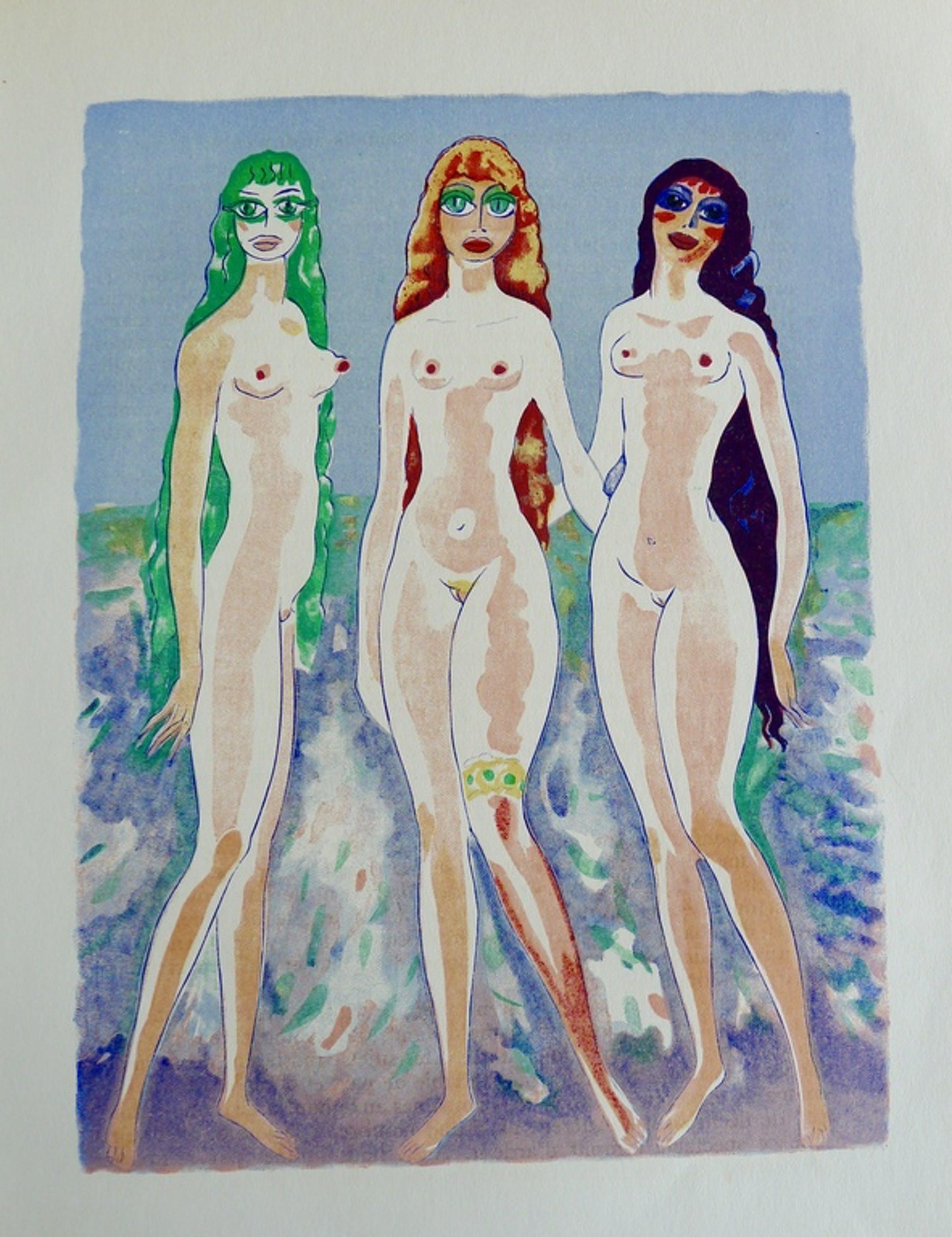"""Kees van Dongen, Houtgravure,""""Les femmes colombes"""" kopen? Bied vanaf 1!"""