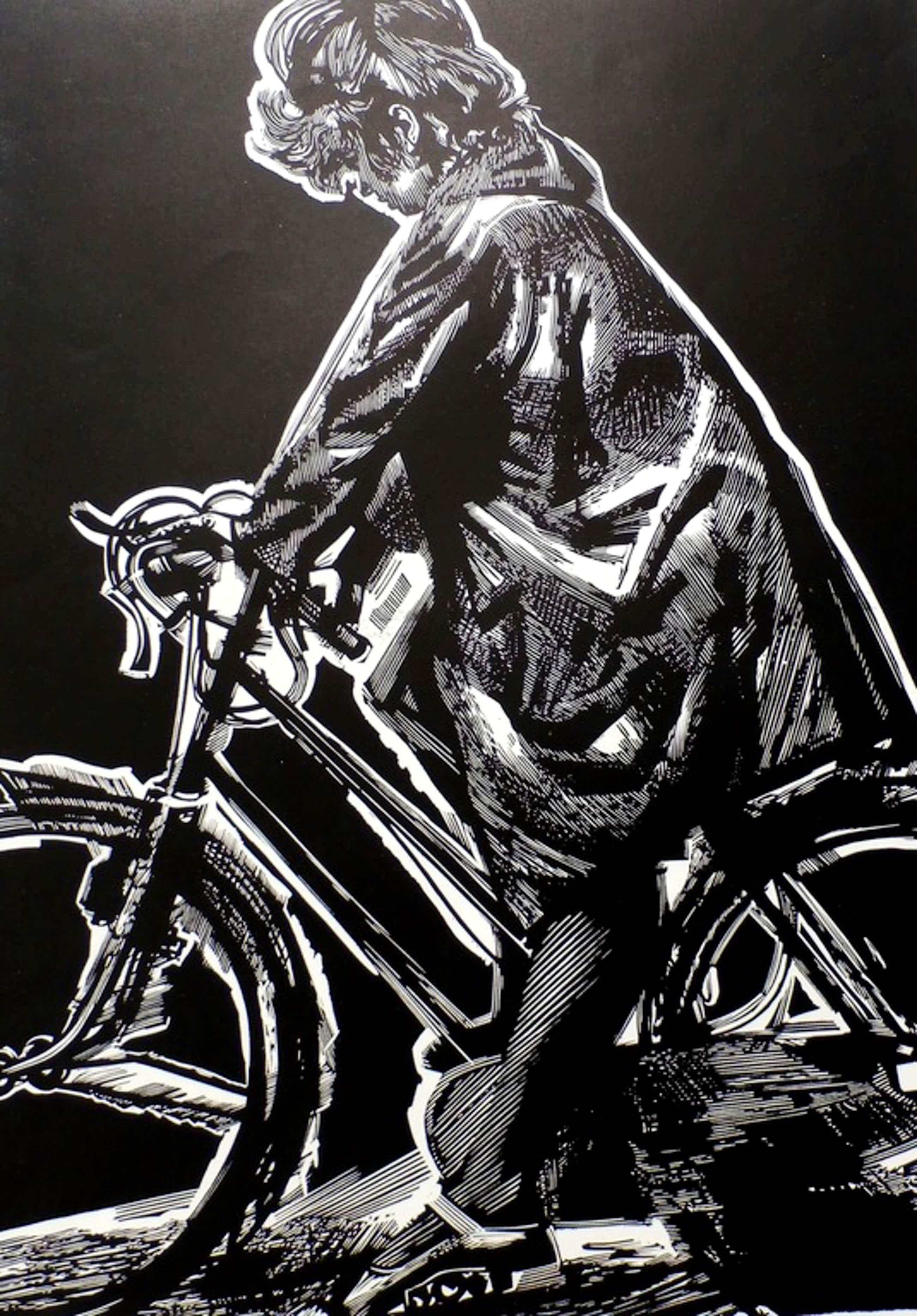 """Wim Zwiers - Linosnede - """"Meisje op de fiets"""" - 1964 kopen? Bied vanaf 35!"""