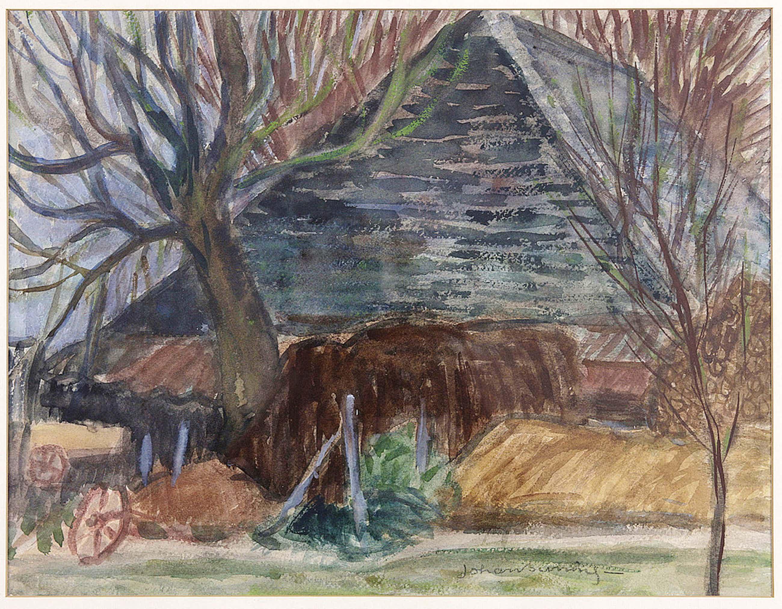 Johan Buning 1893-1963  Schuur tussen de bomen - aquarel, gesigneerd, c. 1930 kopen? Bied vanaf 70!