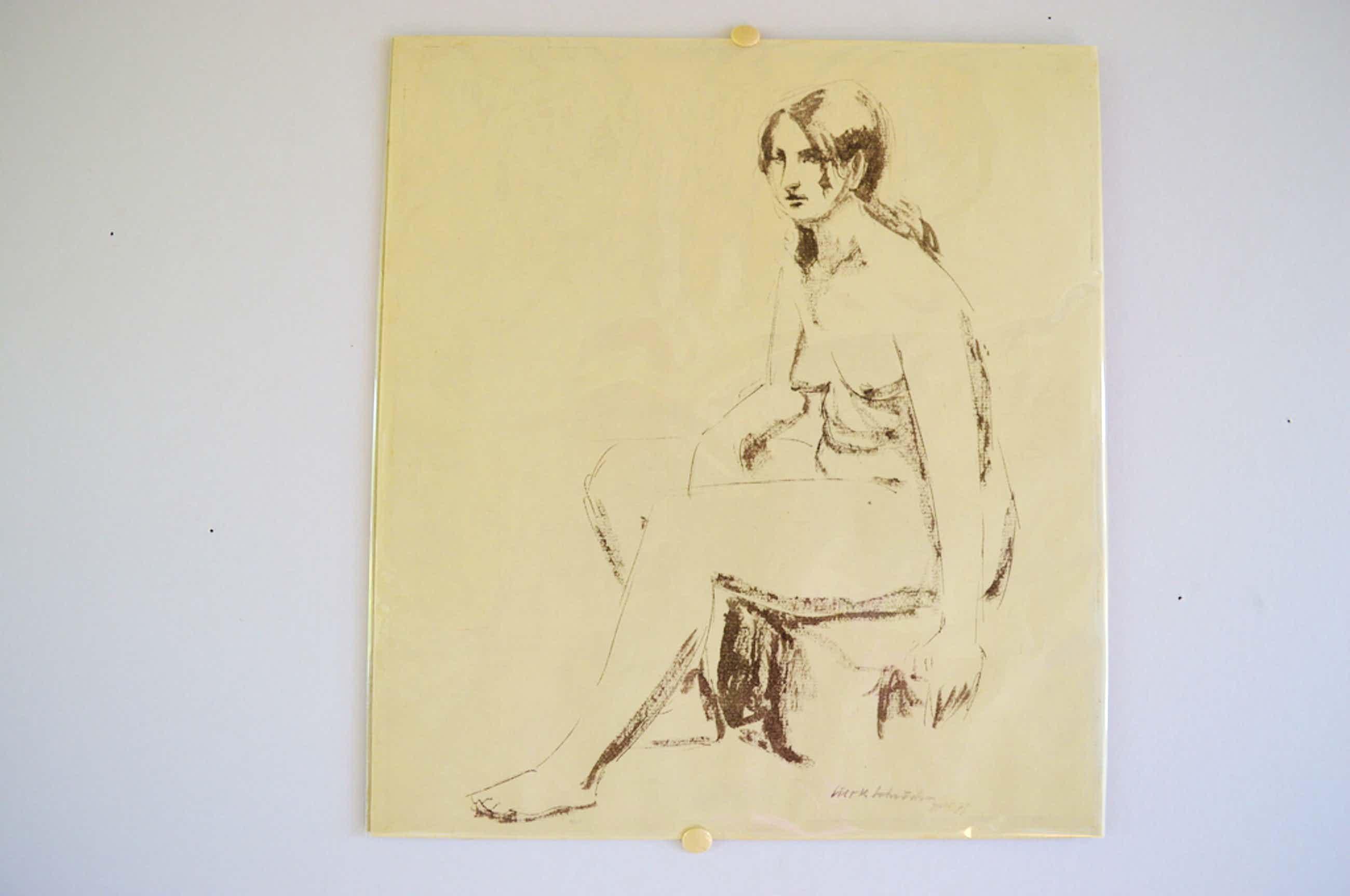Sierk Schröder (Ambon 1903-Wassenaar 2002) zittend naakt, inkt - 1977 kopen? Bied vanaf 95!