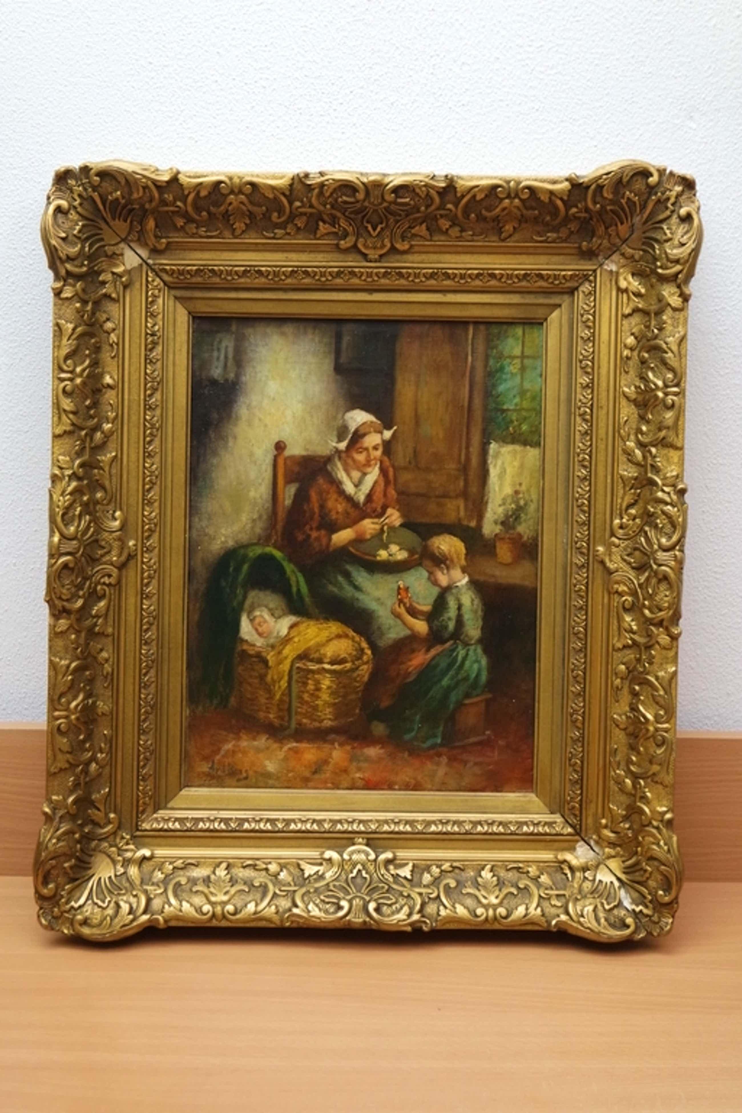 Andries van den BERG (1852-1944) - olieverf op doek - moeder met kinderen kopen? Bied vanaf 240!