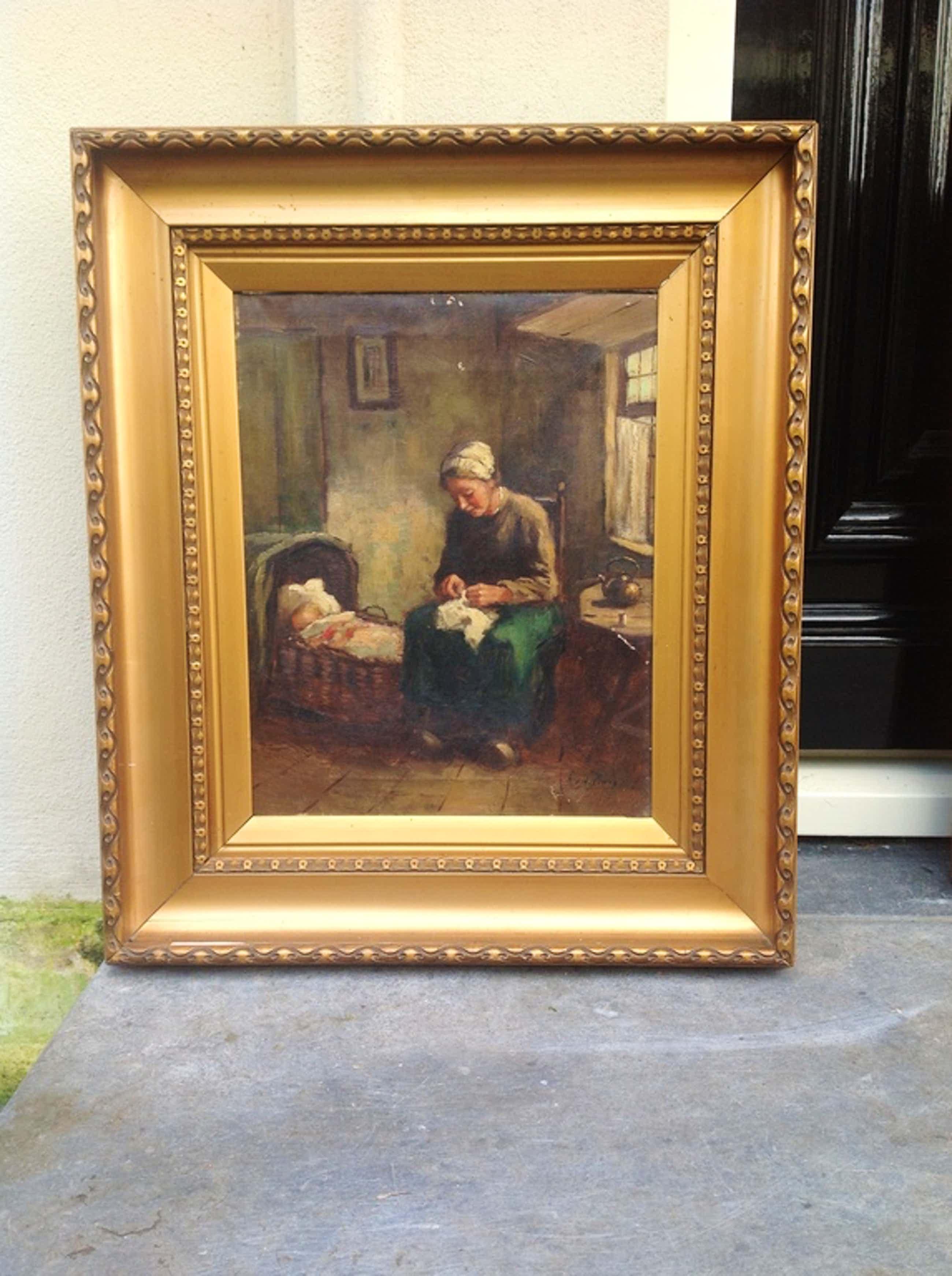 Andries van den Berg, Binnenhuisinterieur met moeder en kind, olie op doek kopen? Bied vanaf 56!