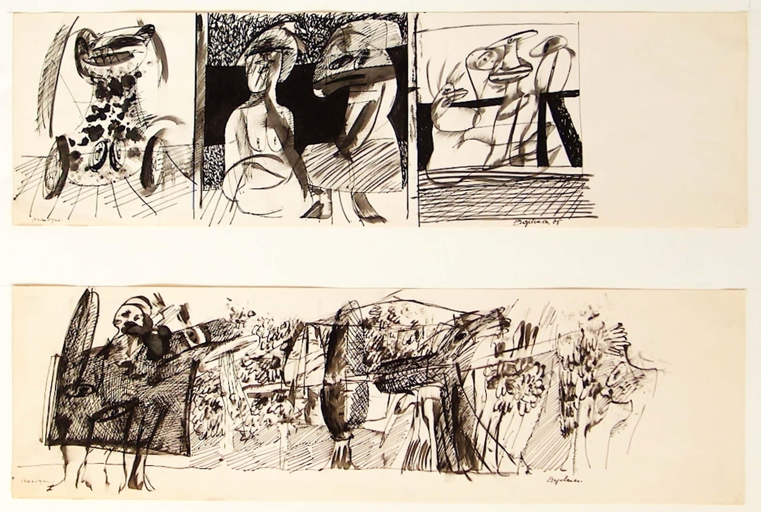 Martin Engelman, twee tekeningen inkt op papier, 1965  kopen? Bied vanaf 40!