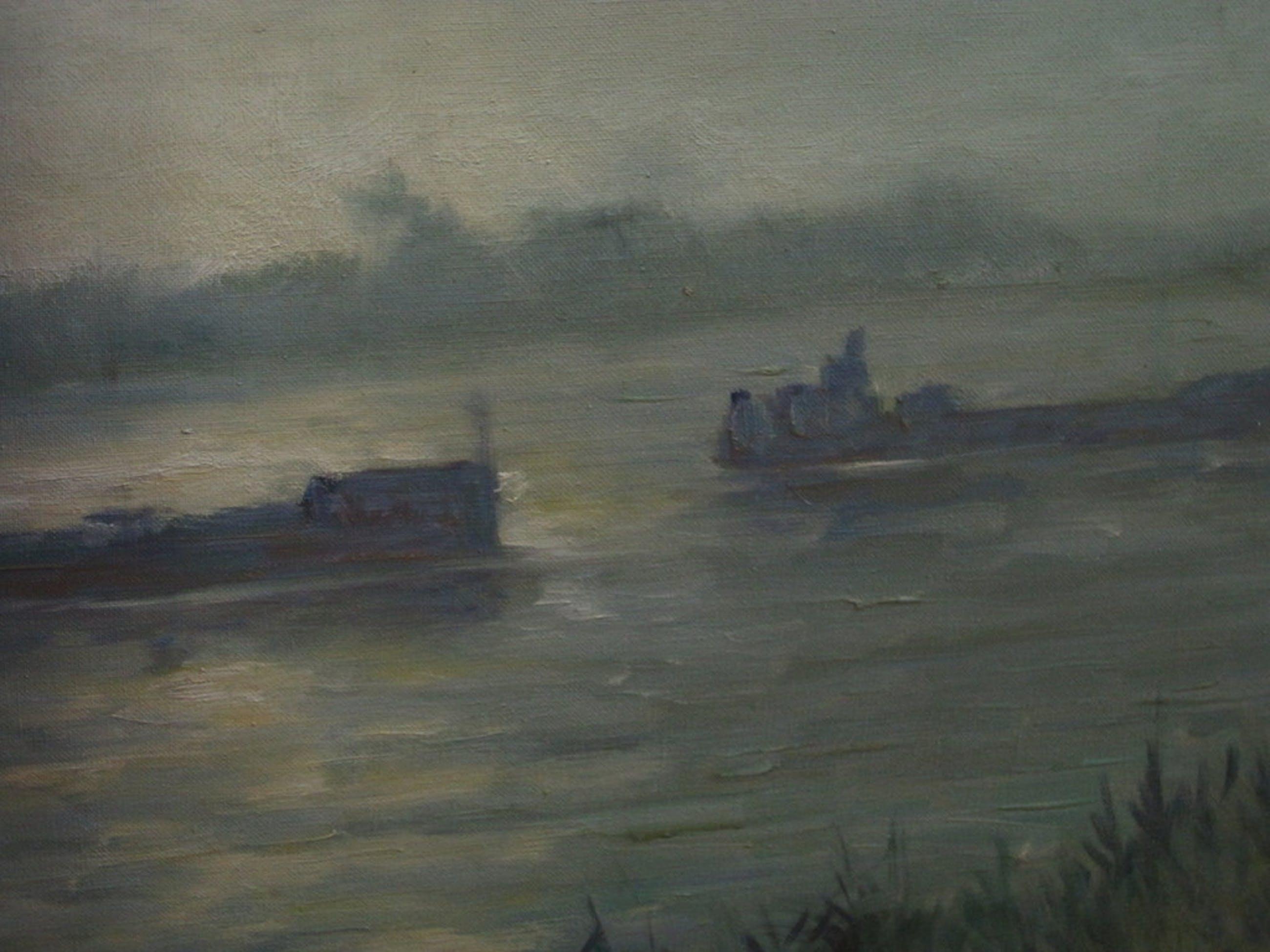 """Oud ca.1950 olieverf """"schepen op de IJssel in vroege ochtend"""" gesign P de Bruin  kopen? Bied vanaf 1!"""