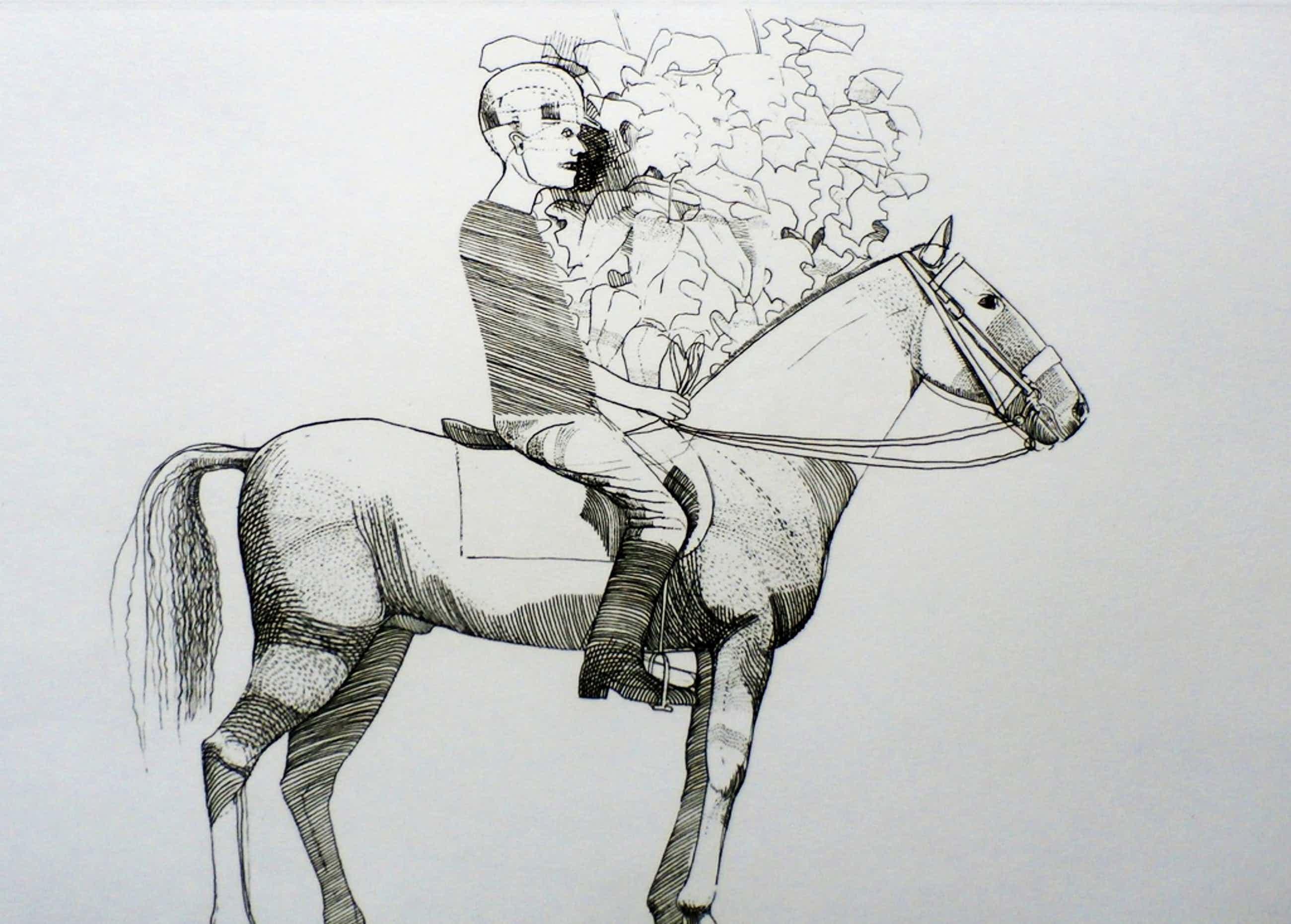 Aat verhoog - ets: ruiter op paard - 1971 kopen? Bied vanaf 50!