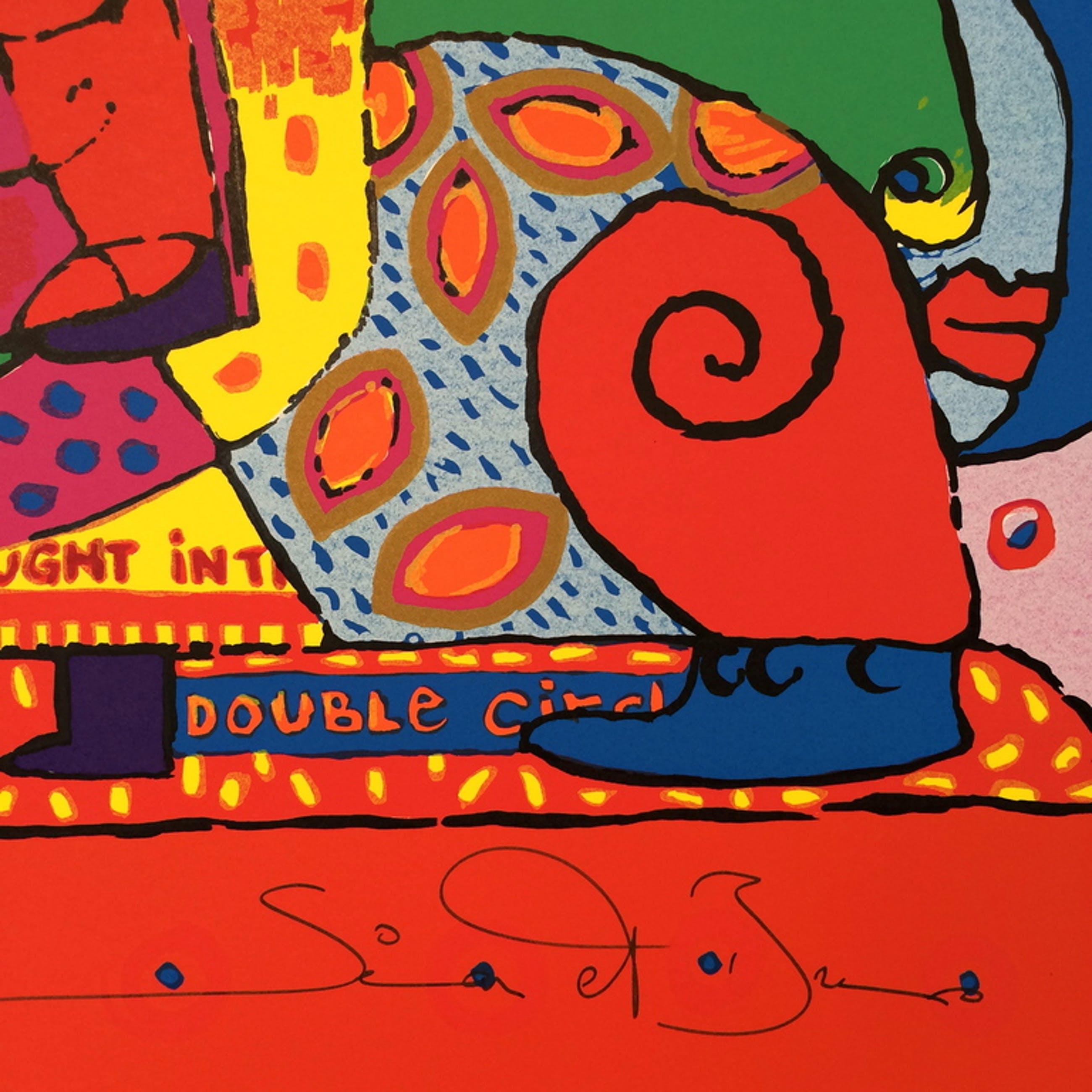 """Simon and Bruno, zeefdruk op papier, Titel: """" double circle"""" kopen? Bied vanaf 30!"""