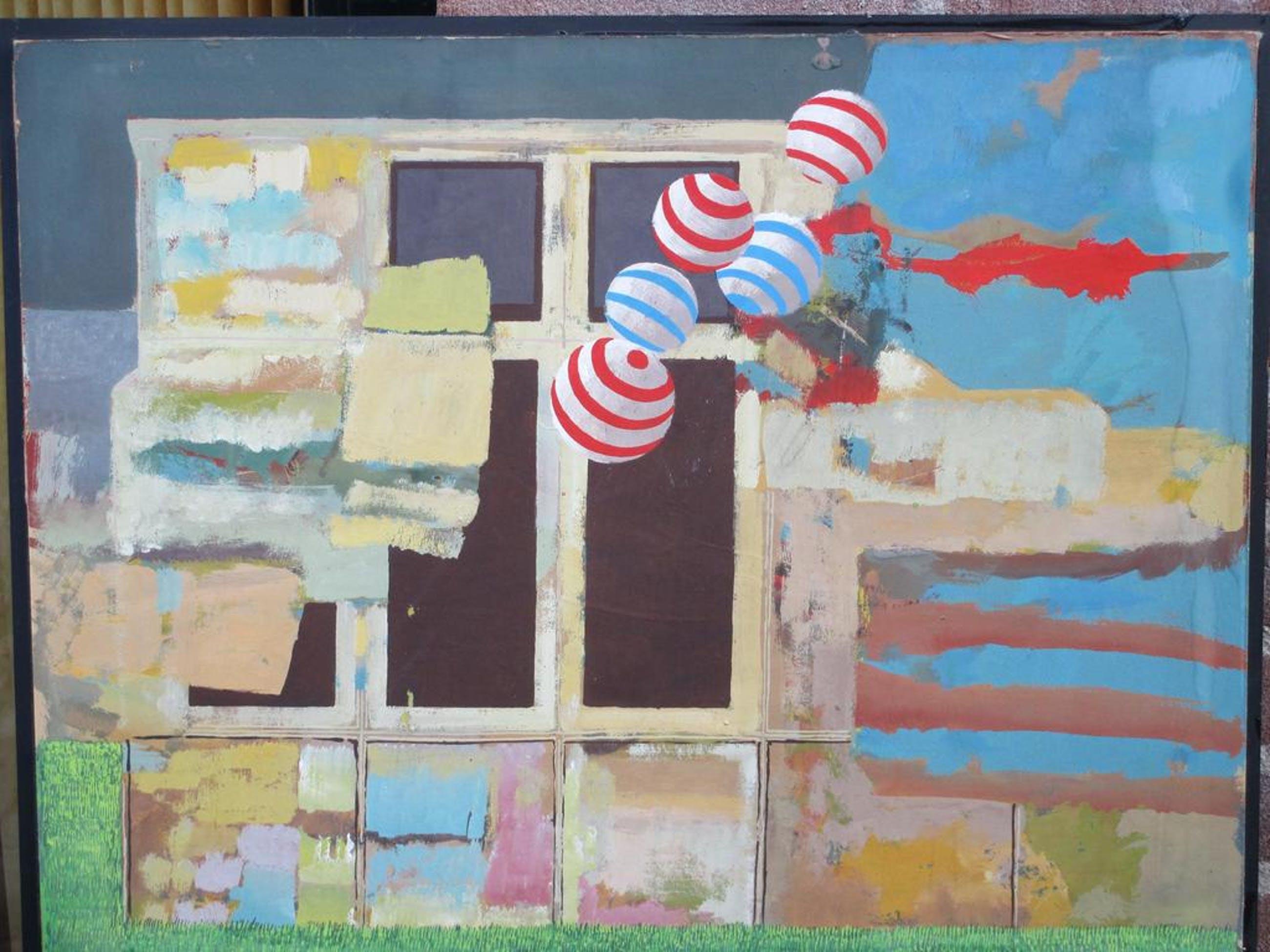 C. van Dul?, Abstracte Compositie met ballen, Olie/papier/board kopen? Bied vanaf 35!