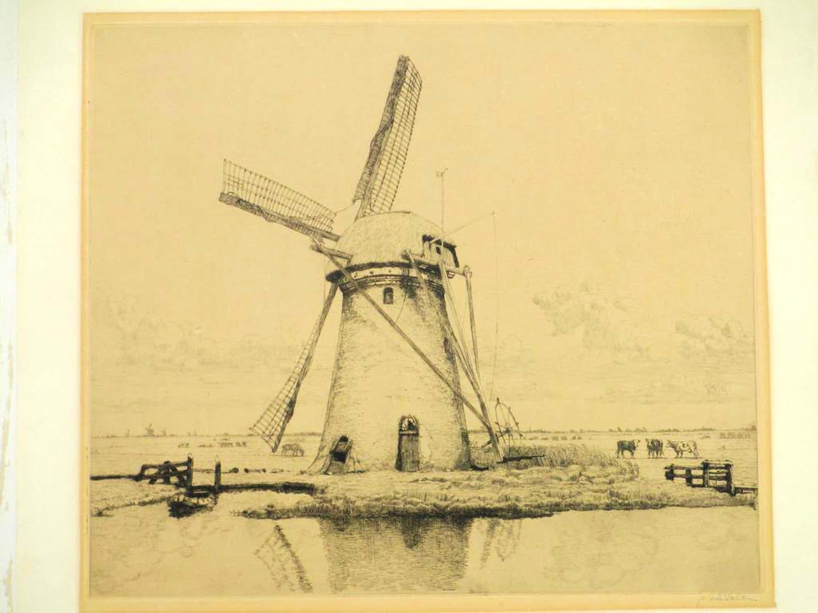 Maurits van der Valk, Molen in puur Hollands landschap, Ets kopen? Bied vanaf 35!