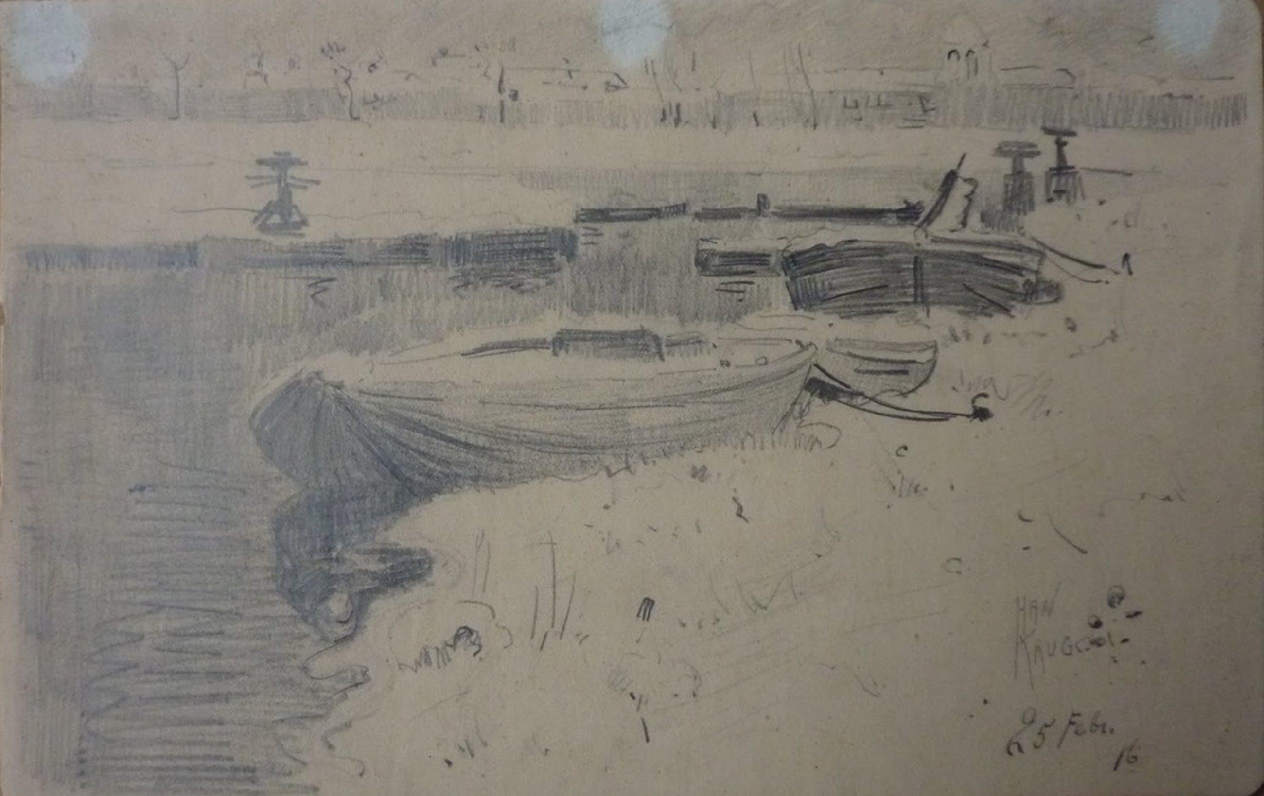 """HAN KRUG tekening """"Boonstoppelsloot"""" Den Haag 1916 kopen? Bied vanaf 40!"""