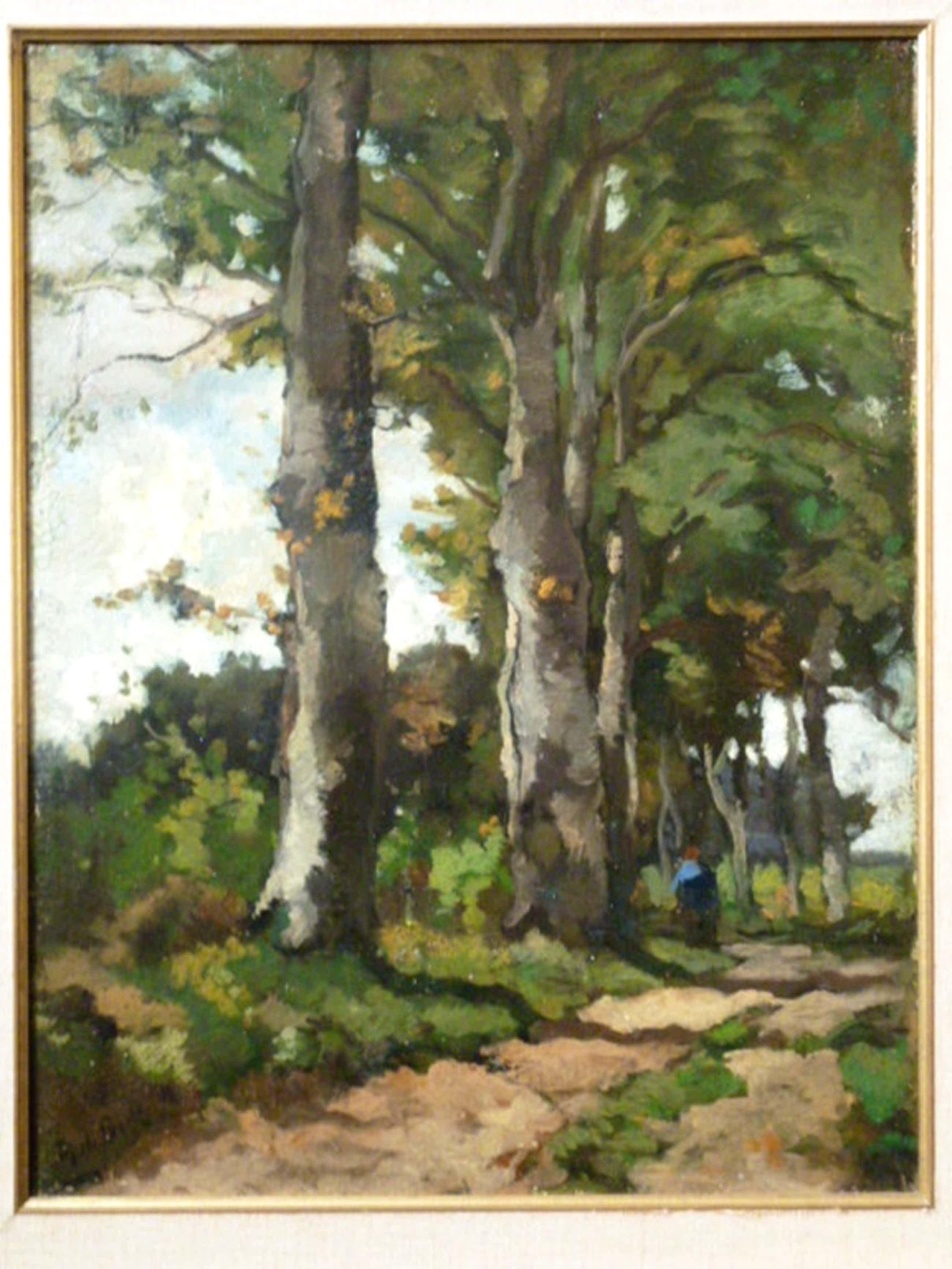 Theophile de Bock - olieverf - Vrouw op bospad kopen? Bied vanaf 775!