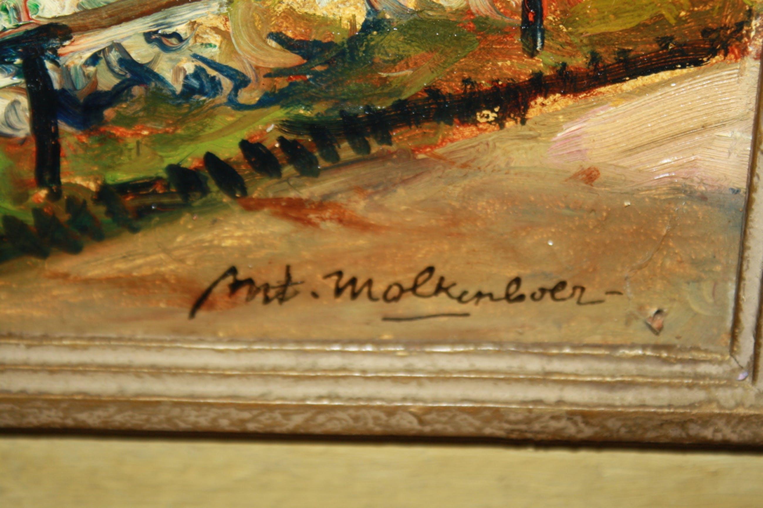 Anton MOLKENBOER - LEEUWARDEN 1892 - 1960 - BLOEMENTUIN MET HEILIG HART BEELD kopen? Bied vanaf 125!