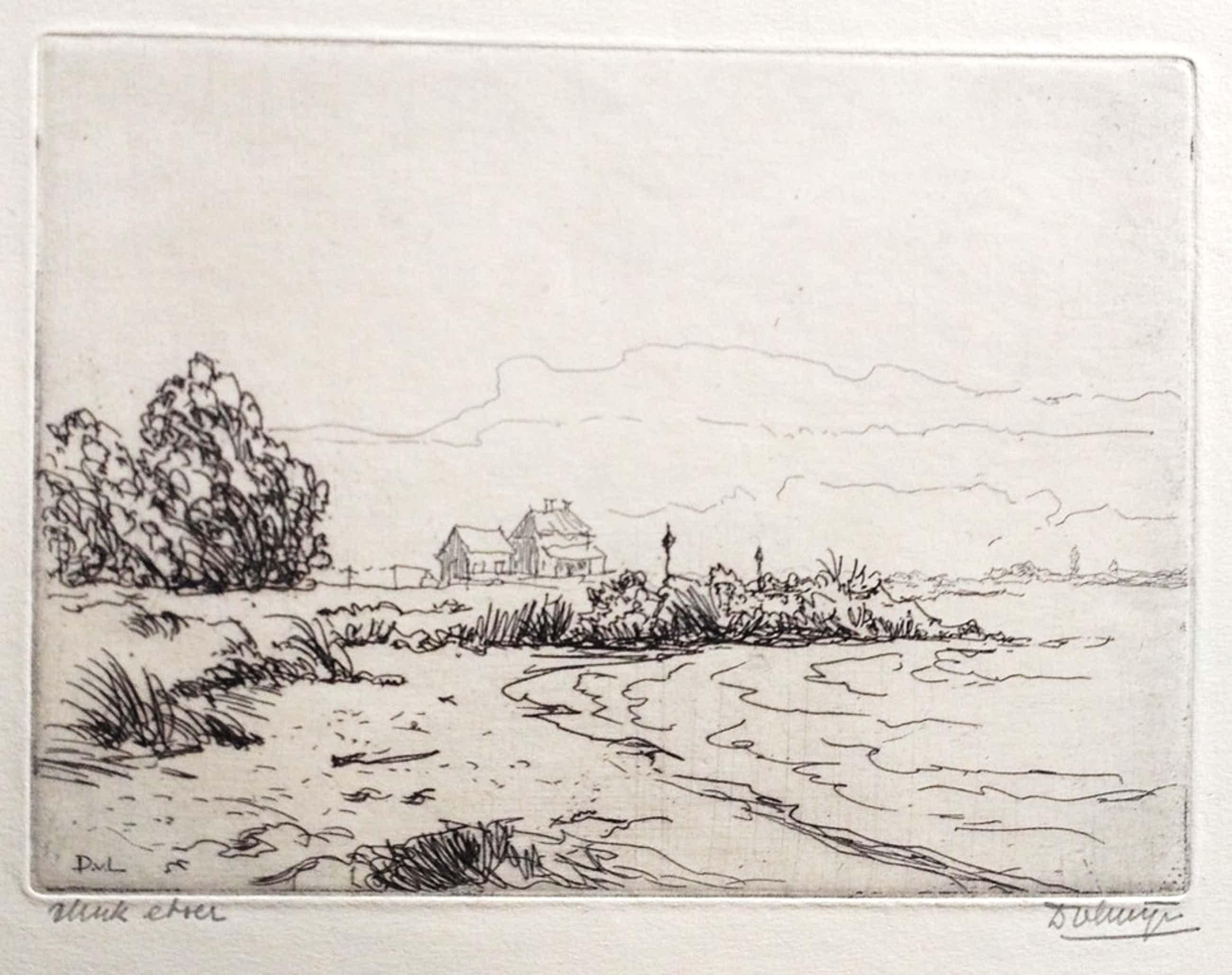 Ets Aan de Rijn uit 1946 door Dirk van Luijn. kopen? Bied vanaf 35!