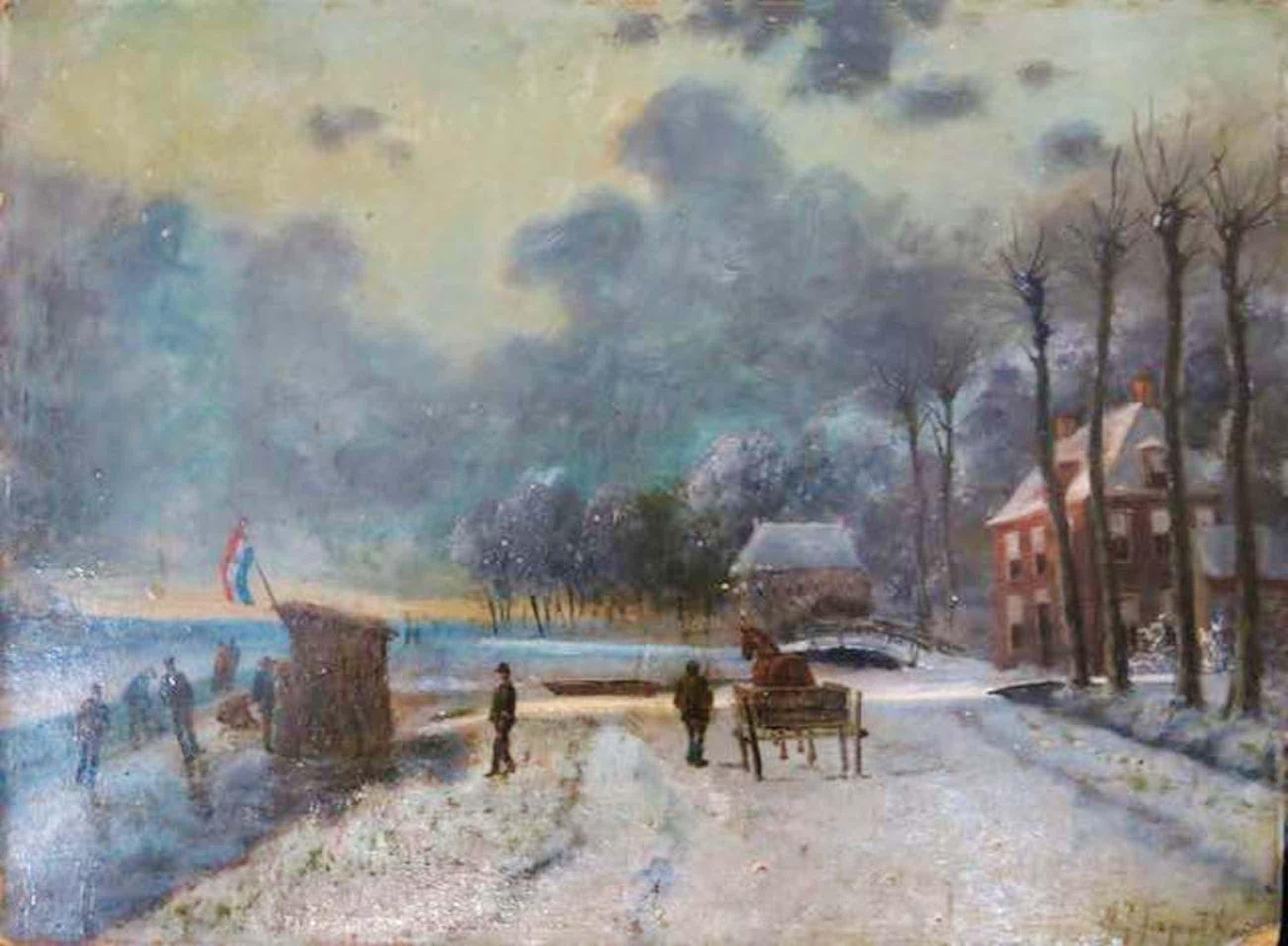 Albertus J. Sap van Drenthe: Olieverf op paneel, Winterlandschap met schaatsers kopen? Bied vanaf 120!