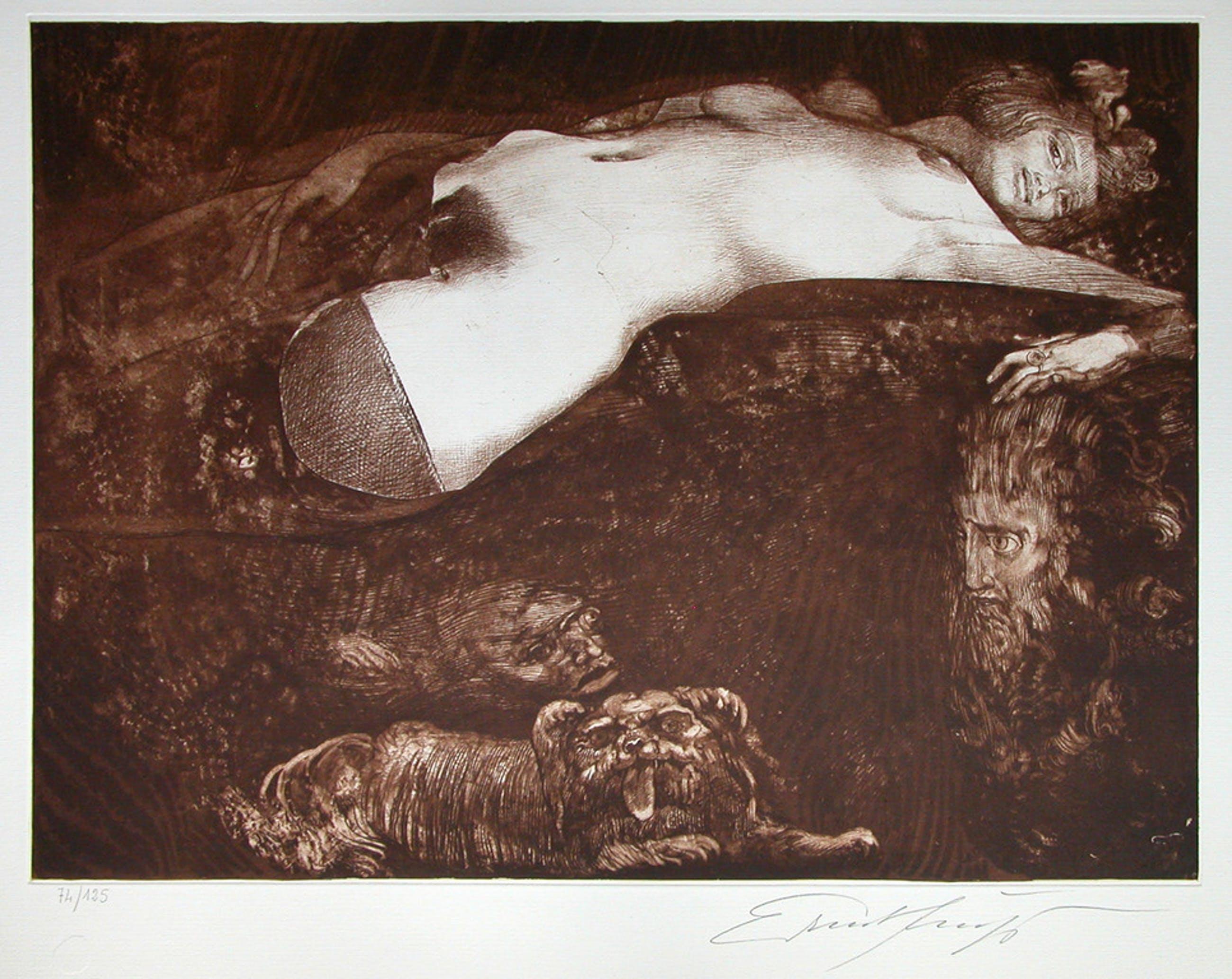 Ernst Fuchs, 'Salome', originele ets/aquatint, handgesigneerd, 1991, ed. 125  kopen? Bied vanaf 175!