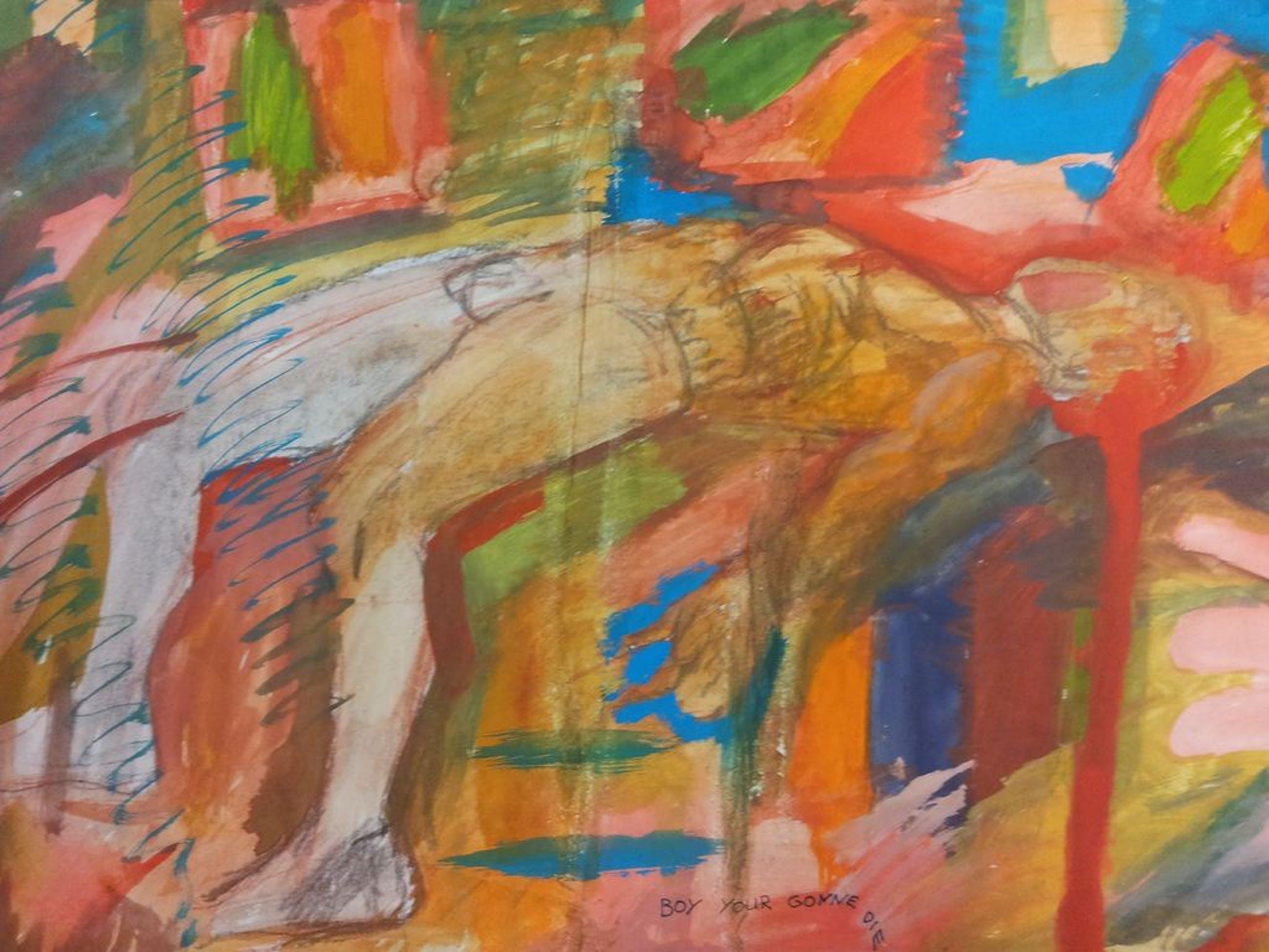 Peter Klashorst - '' Boy you gonne die '' Zeldzaam Vroeg werk !  Gemengde Techniek / Maroufle papier op Canvas - Gesigneerd en gedateerd 1981  kopen? Bied vanaf 125!
