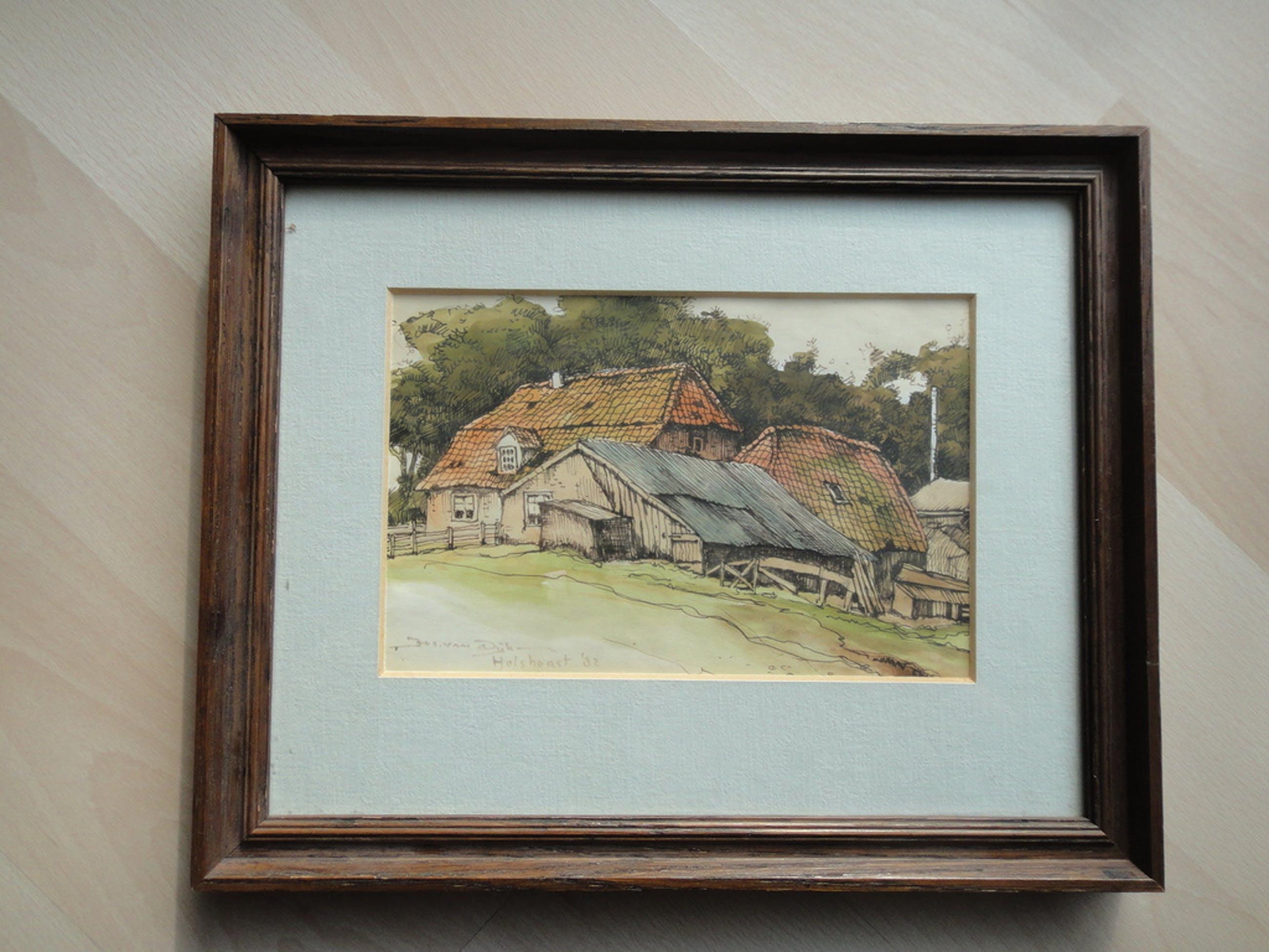 Jos van Dijk, aquarel, boerderij te Hulshorst (1982) kopen? Bied vanaf 1!