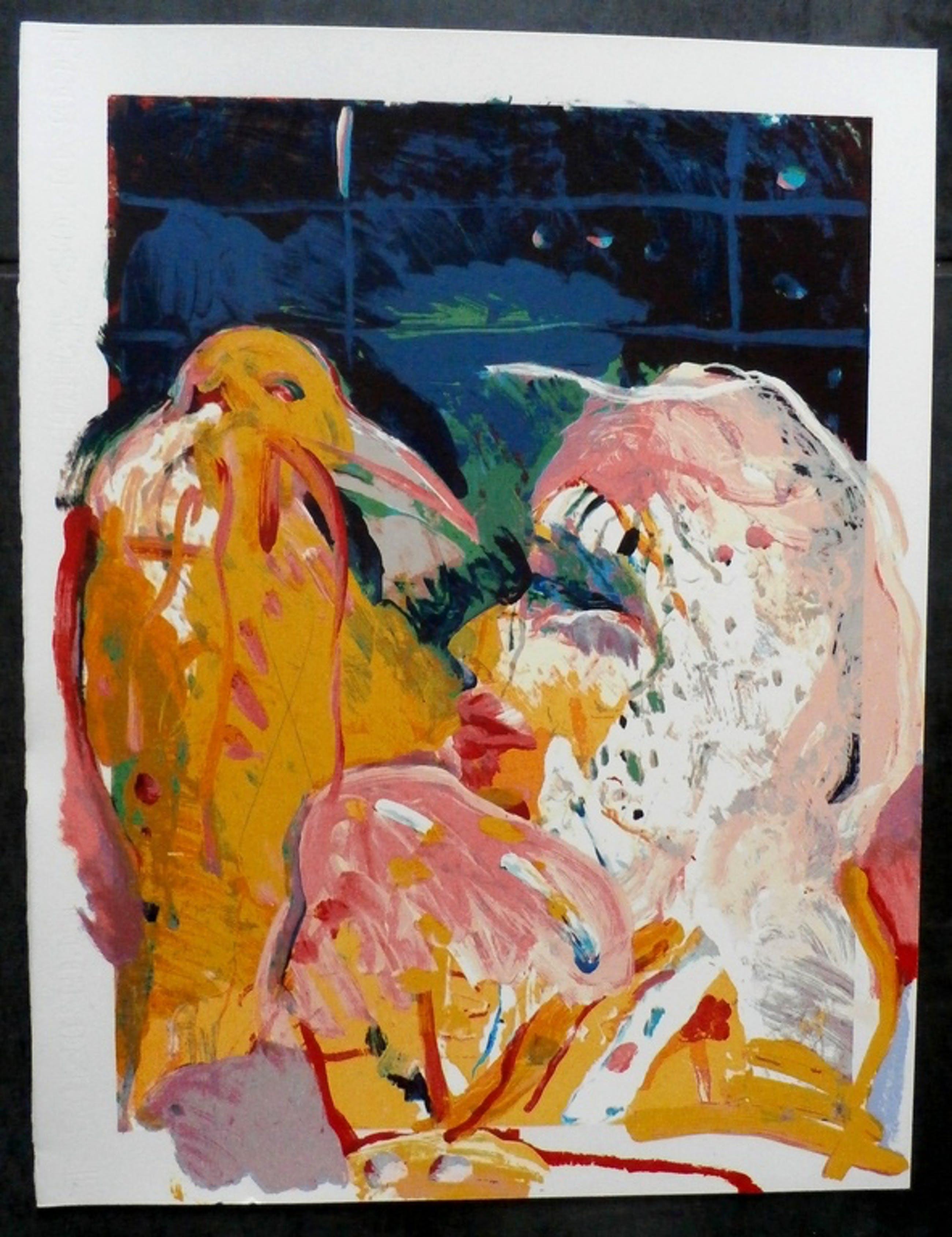 Kees van Bohemen - zeefdruk: vrouw met vogel kopen? Bied vanaf 60!