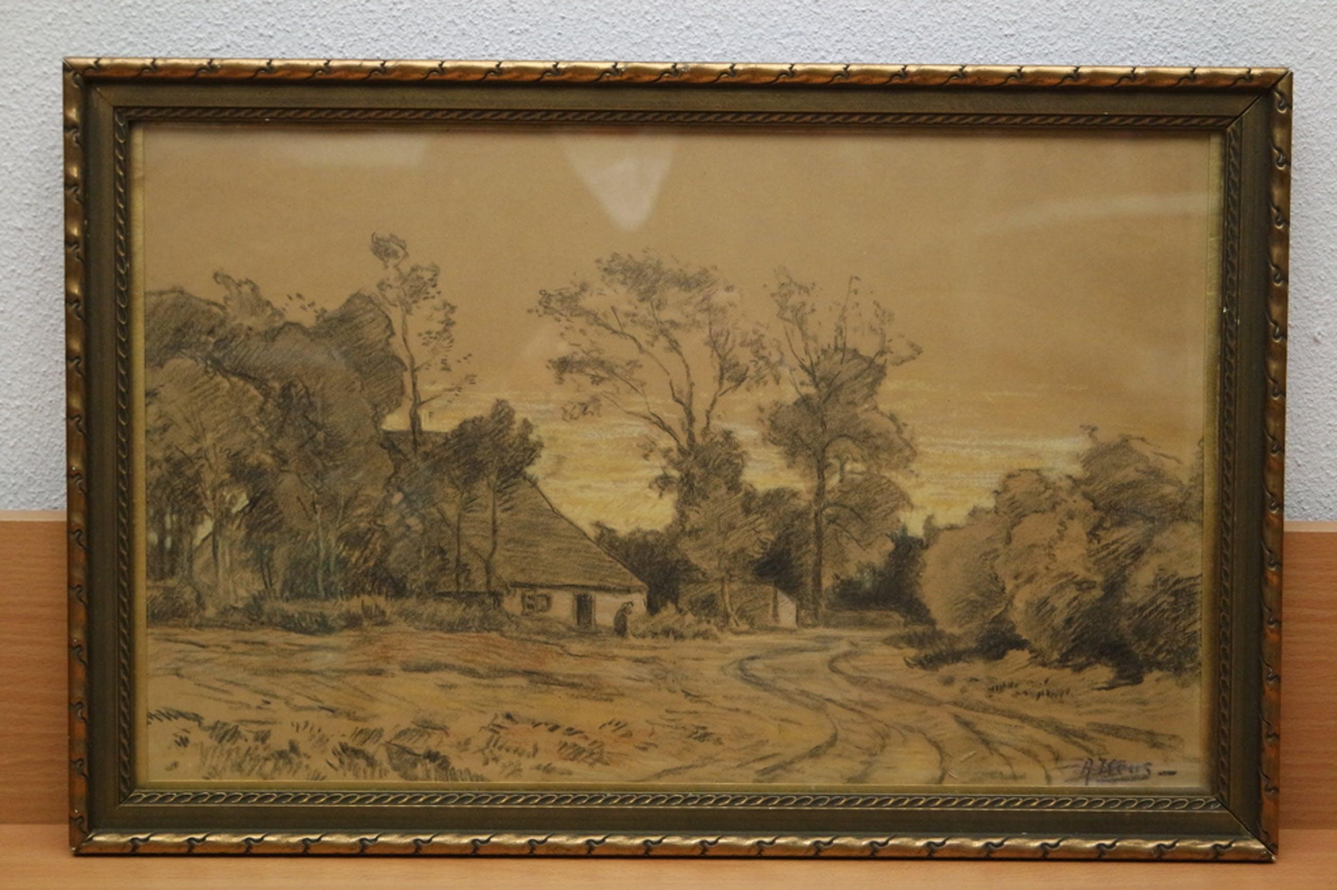 Adriaan Keus (1875-1955) - houtskool/pastel tekening - boerderijgezicht kopen? Bied vanaf 30!